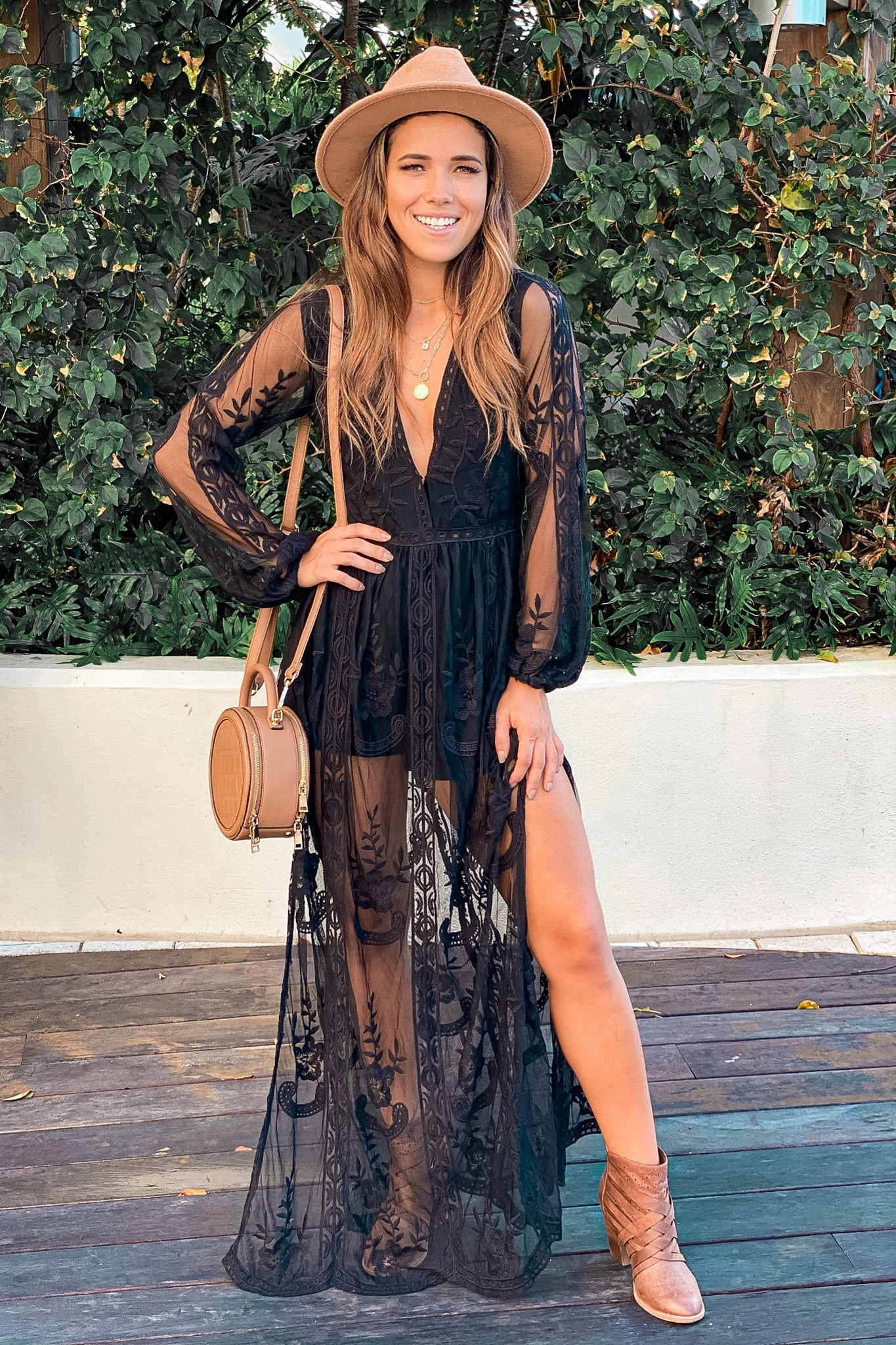 black lace maxi romper with long sleeves