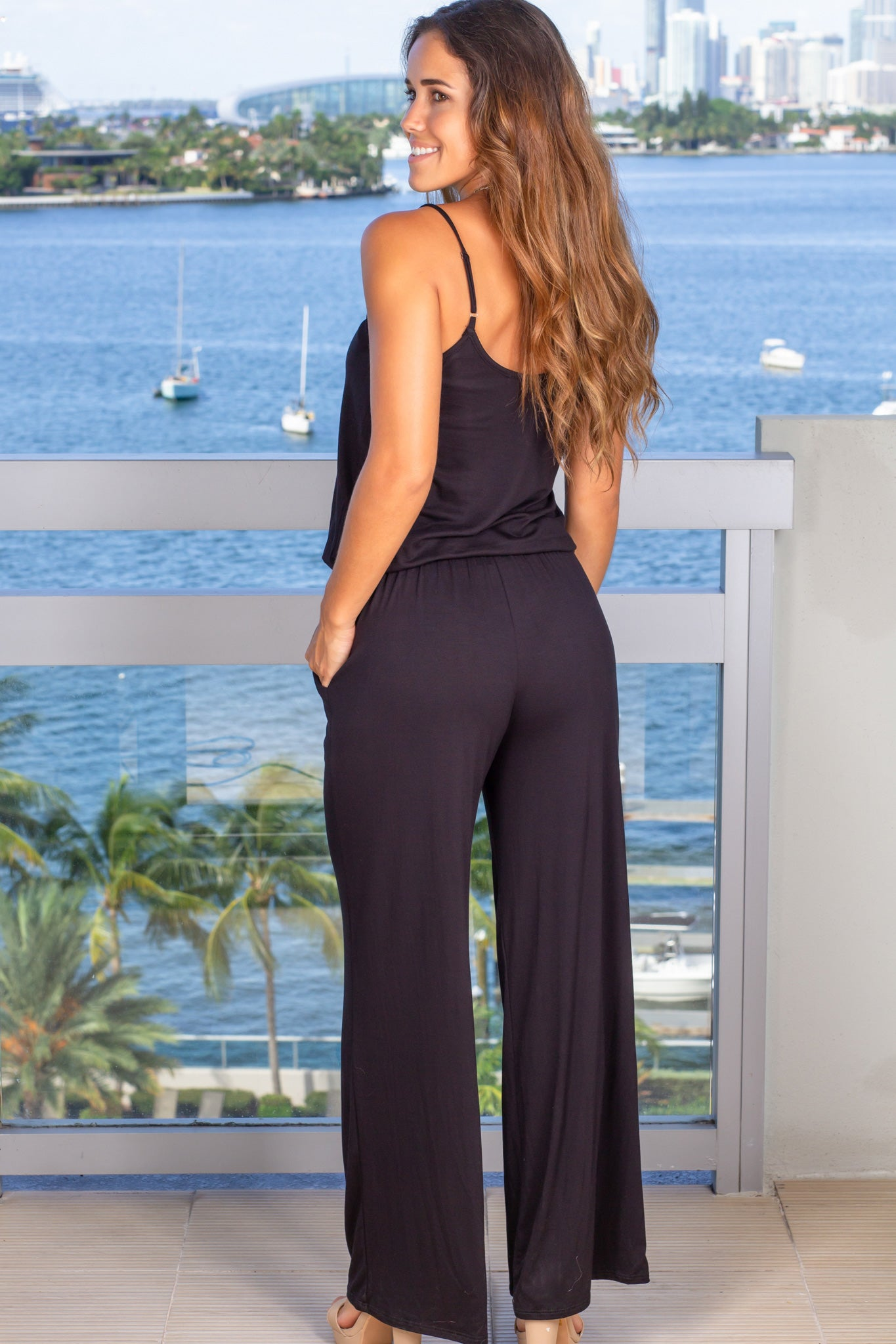 black lounging jumpsuit