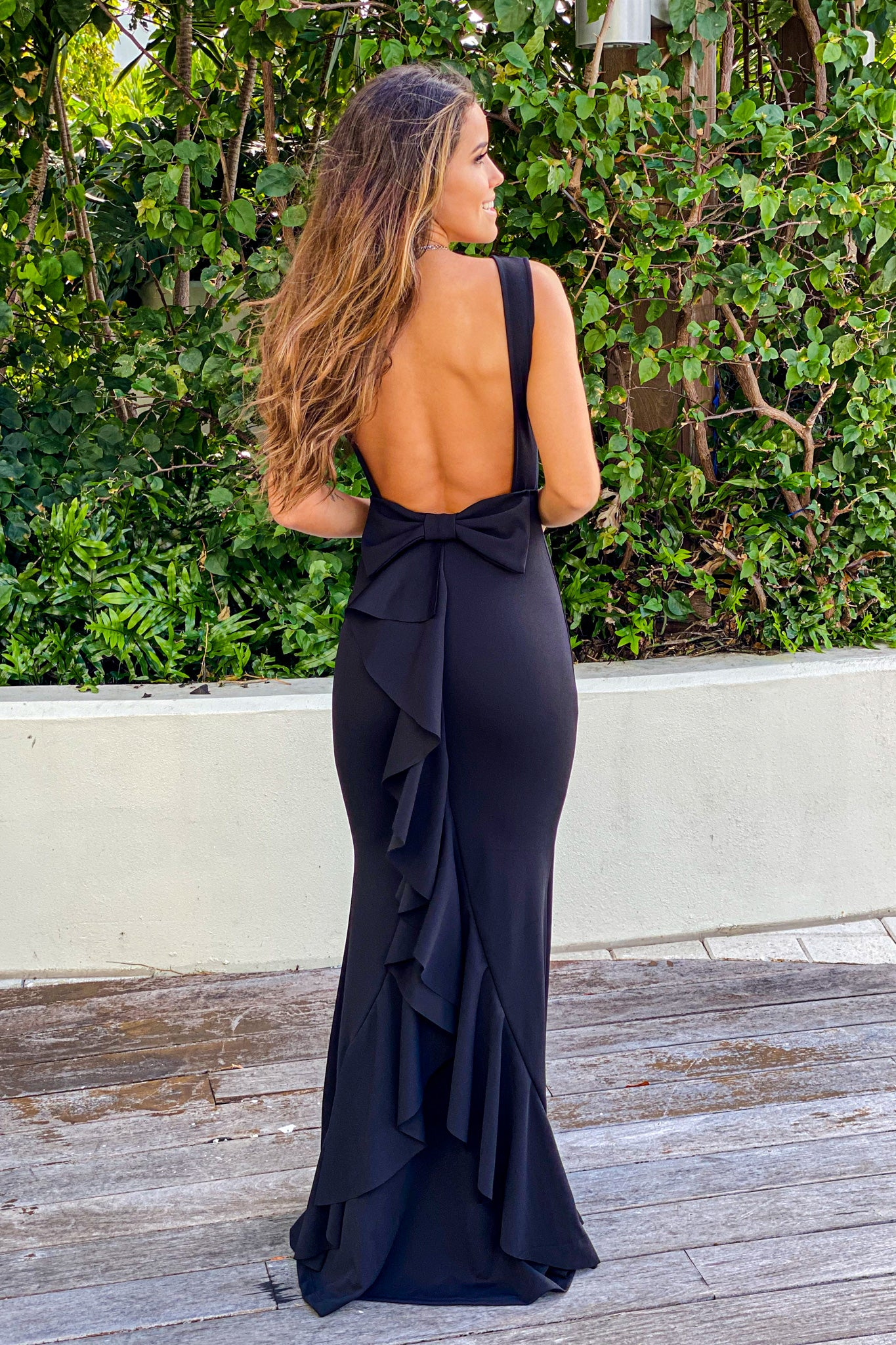 black maxi dress with bow detail