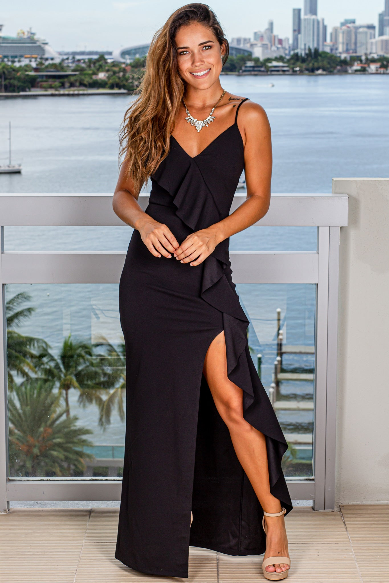 black maxi dress with ruffle front detail