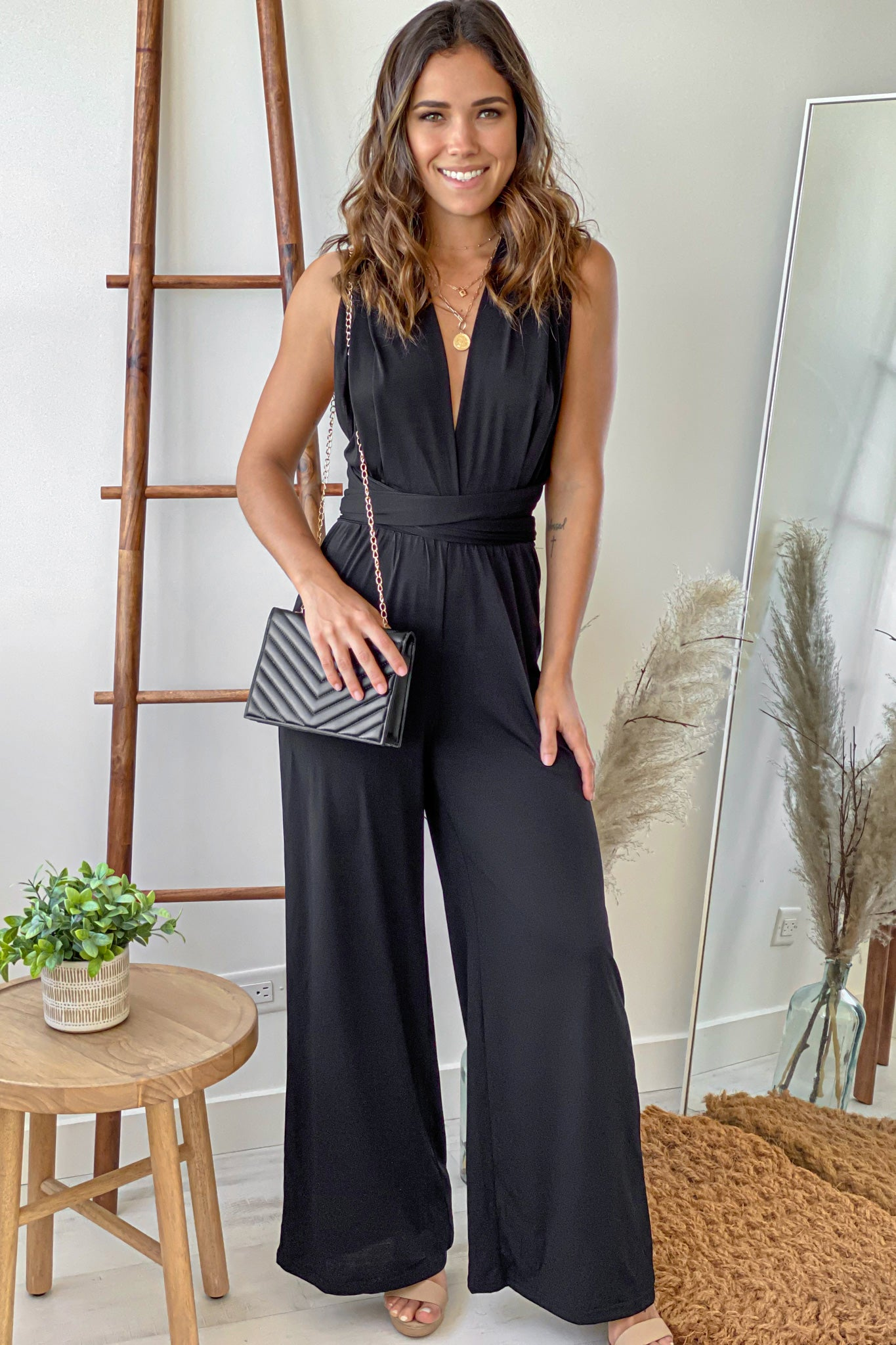 black multi tie jumpsuit