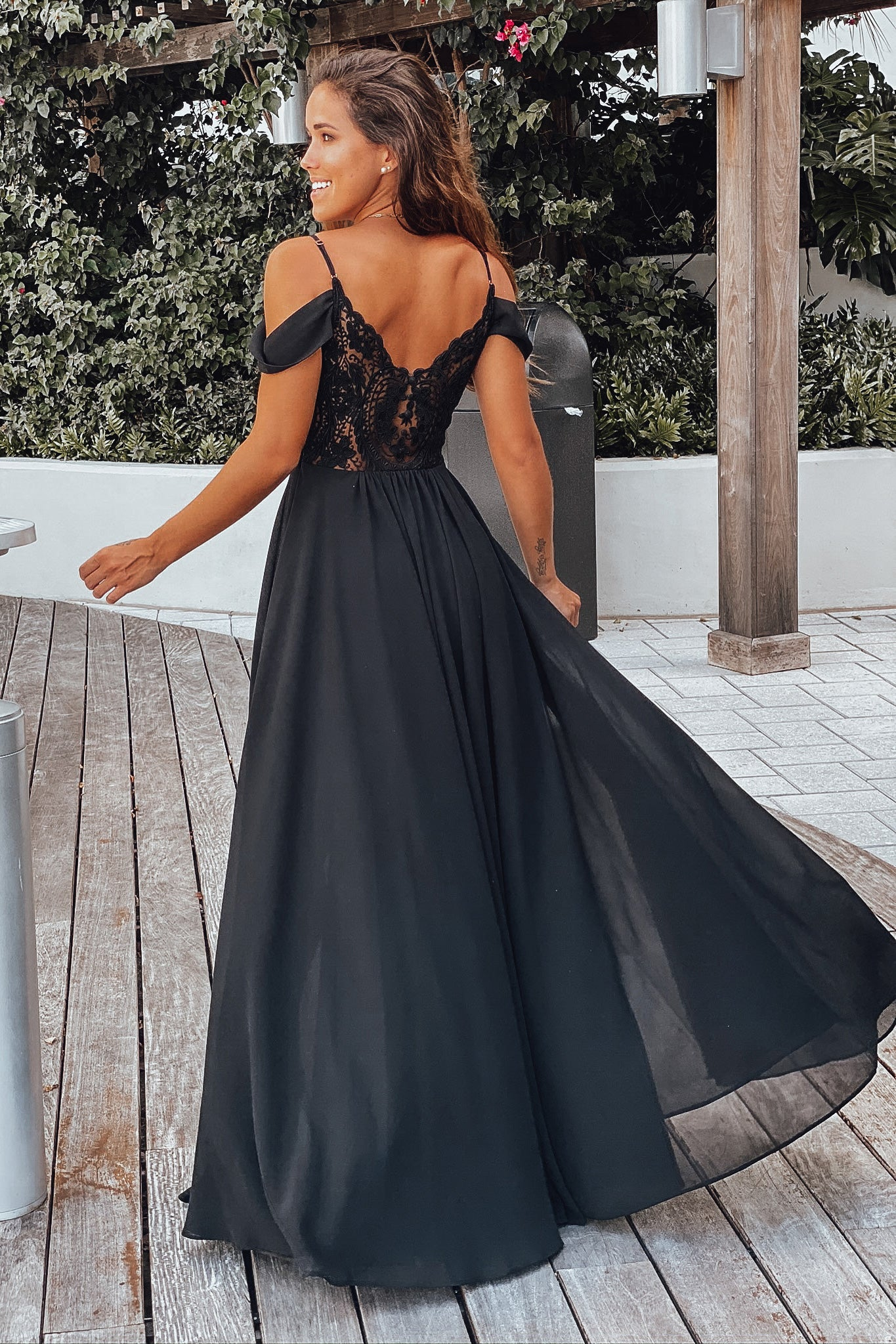black off shoulder maxi dress with lace back