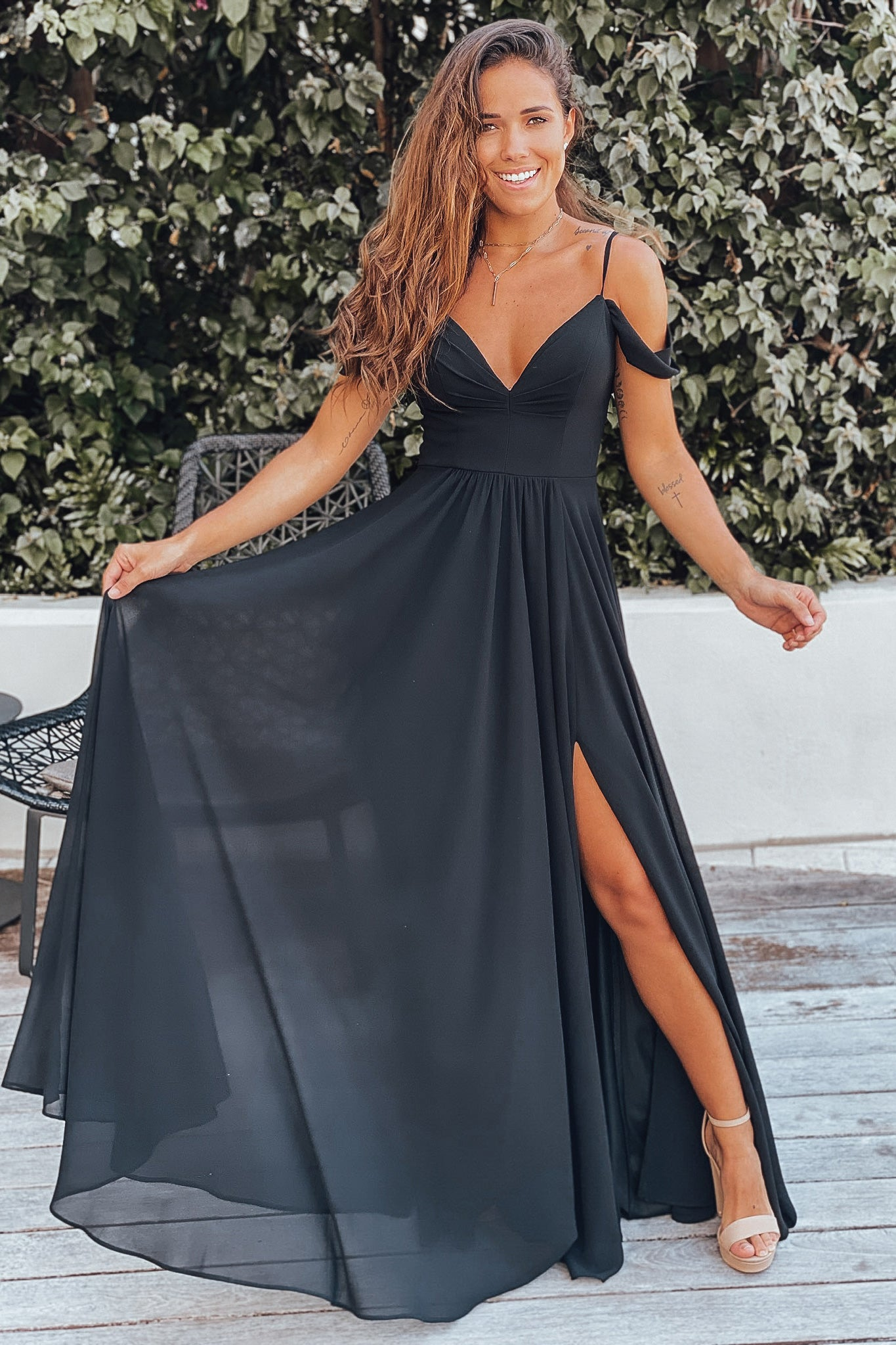 black off shoulder prom dress