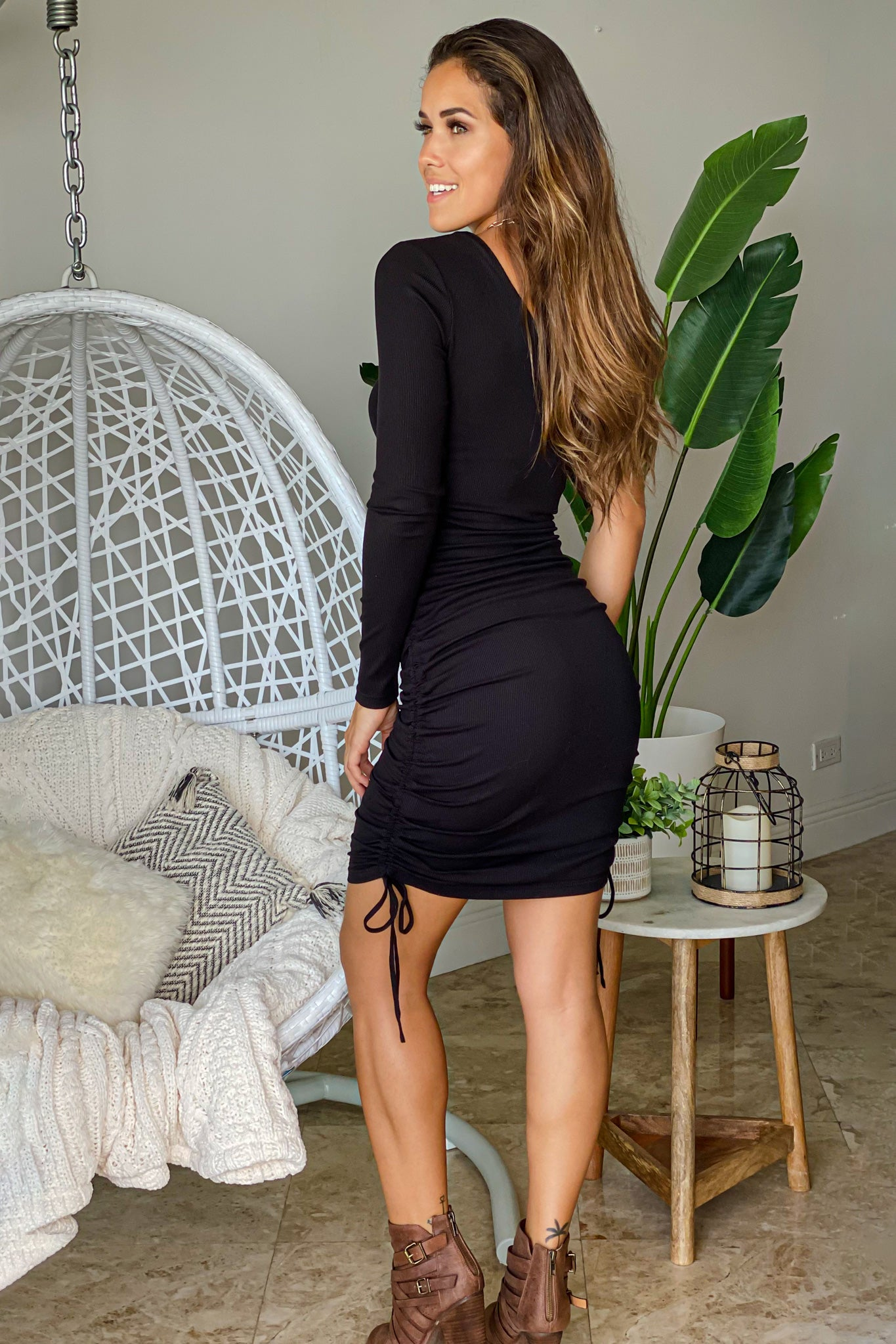 black one shoulder short dress with pull string