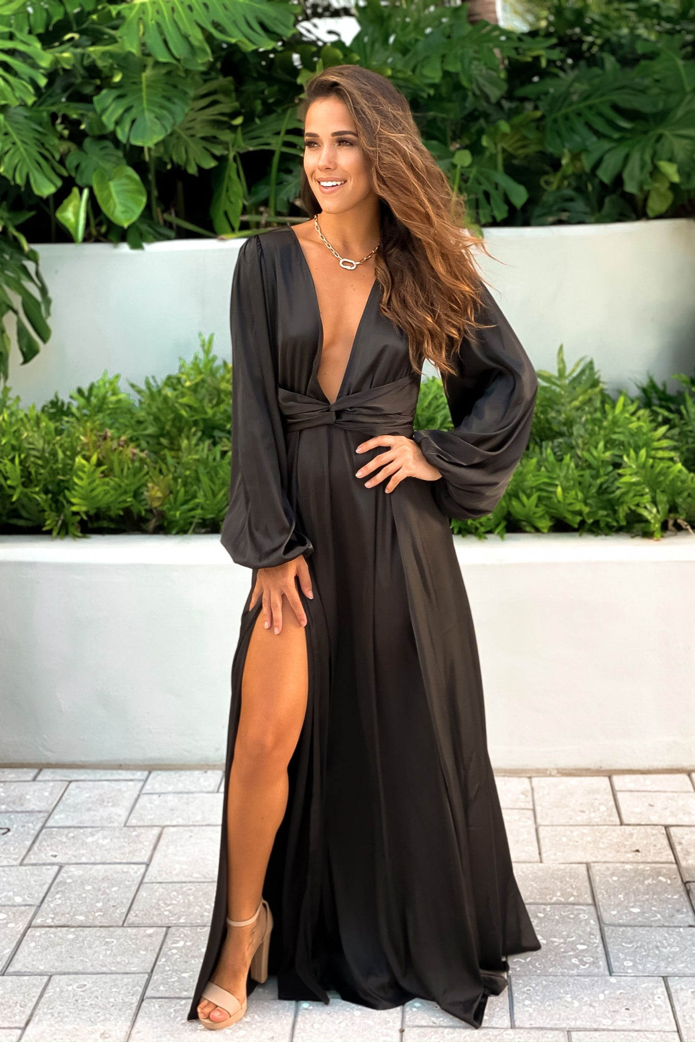black sating maxi dress with front twist
