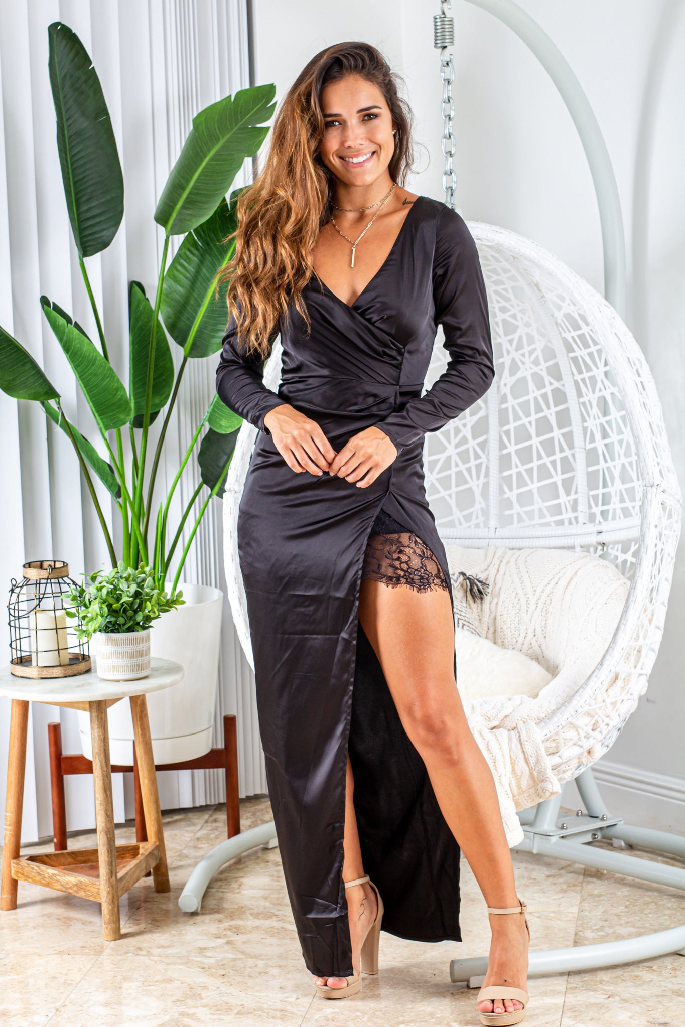 black satin maxi dress with lace detail