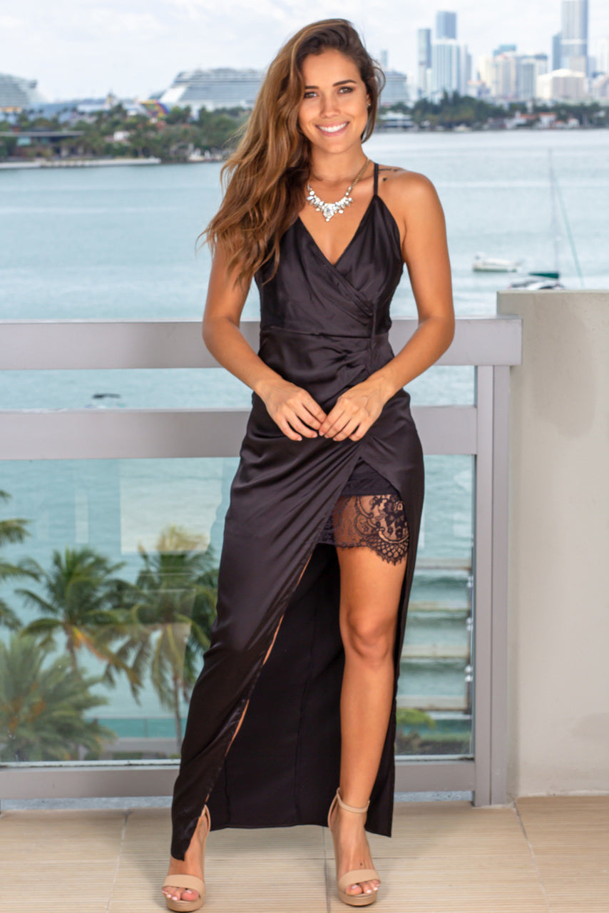Black Satin Maxi Dress With Side Slit