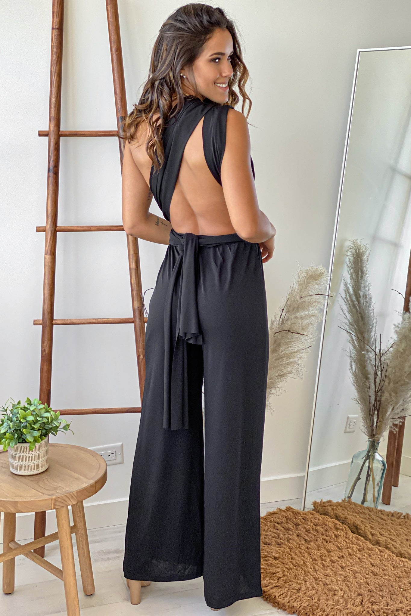 black self tie jumpsuit