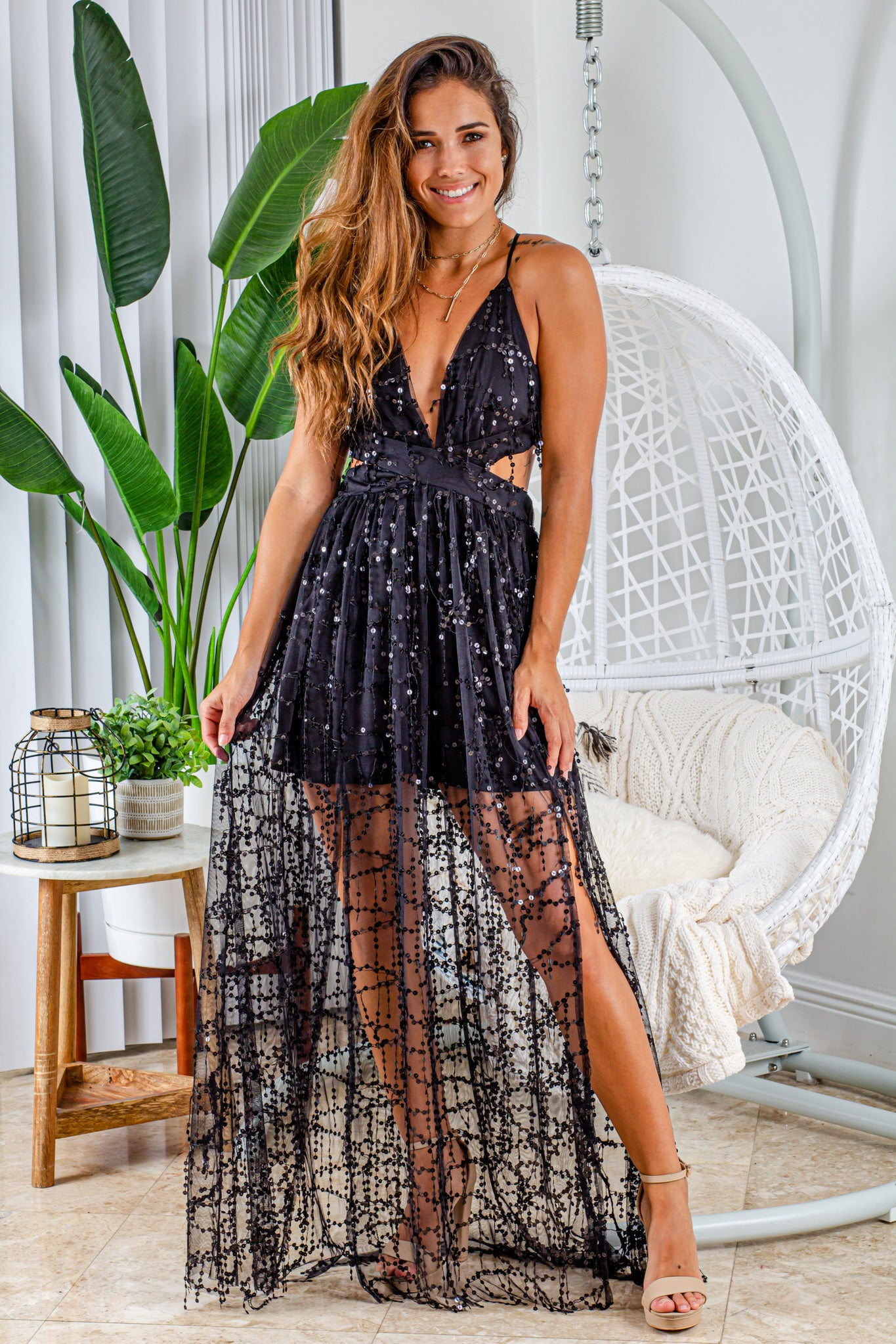 black sequin fringe maxi dress