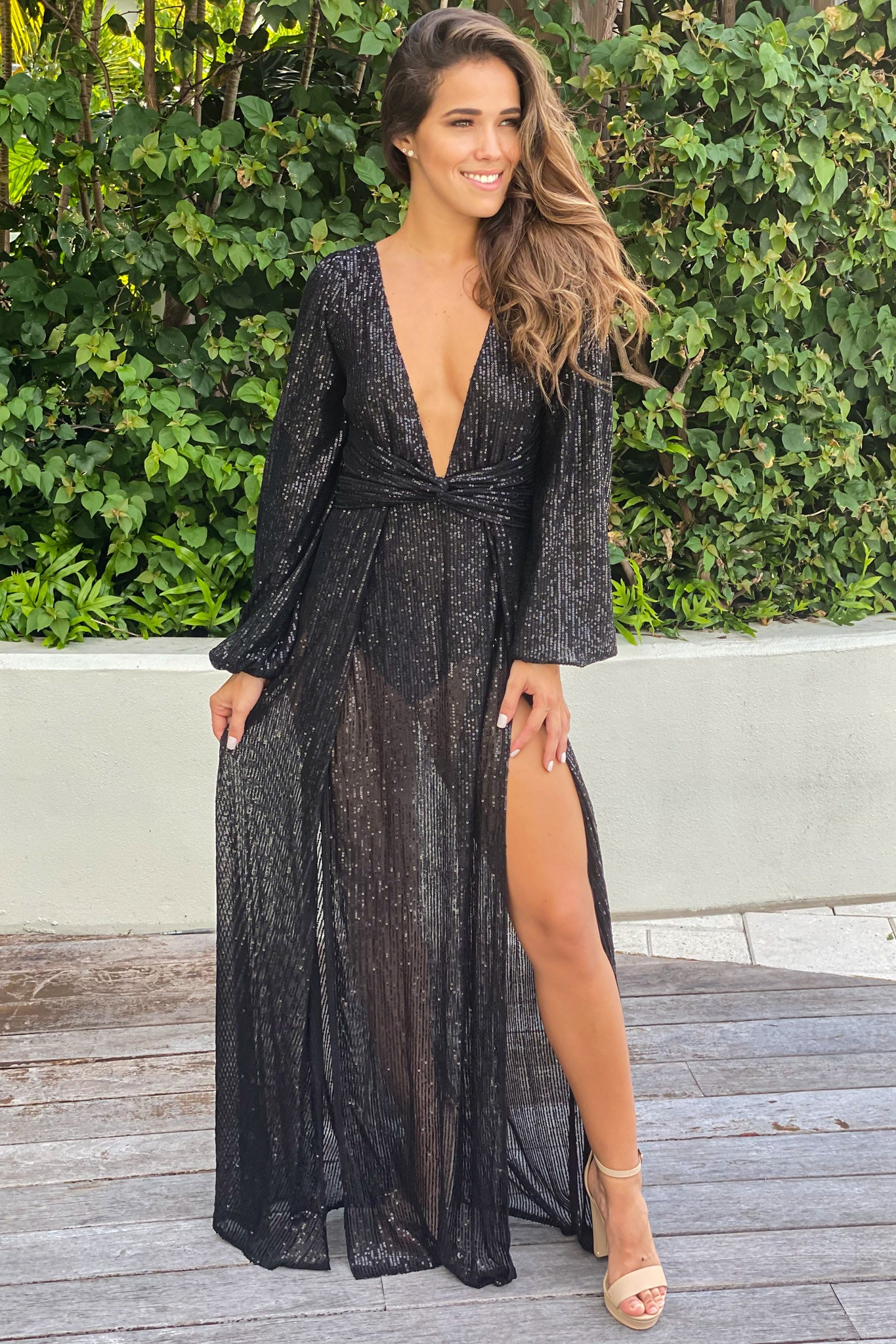 black sequin special occasion dress