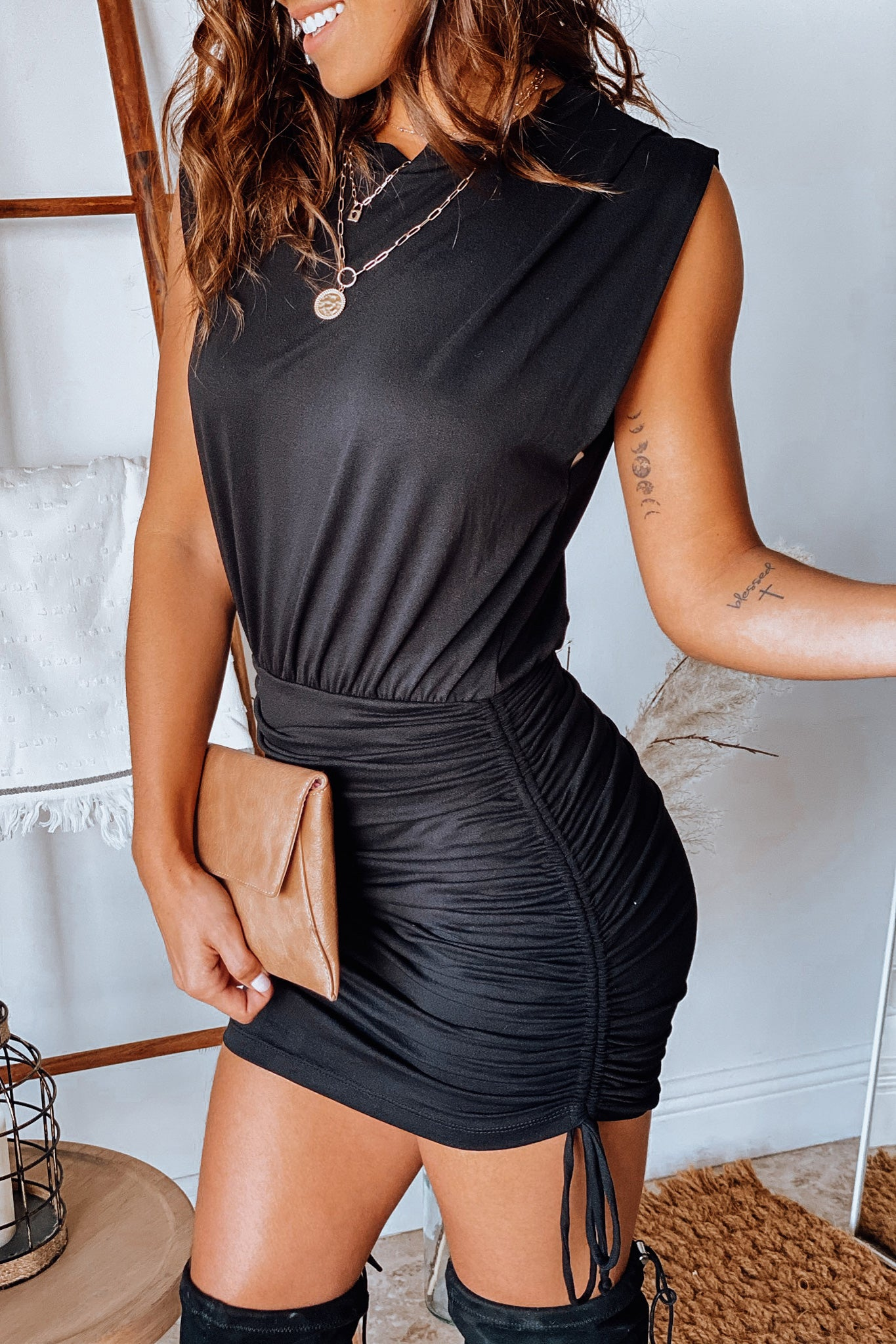 black short dress with pull strings