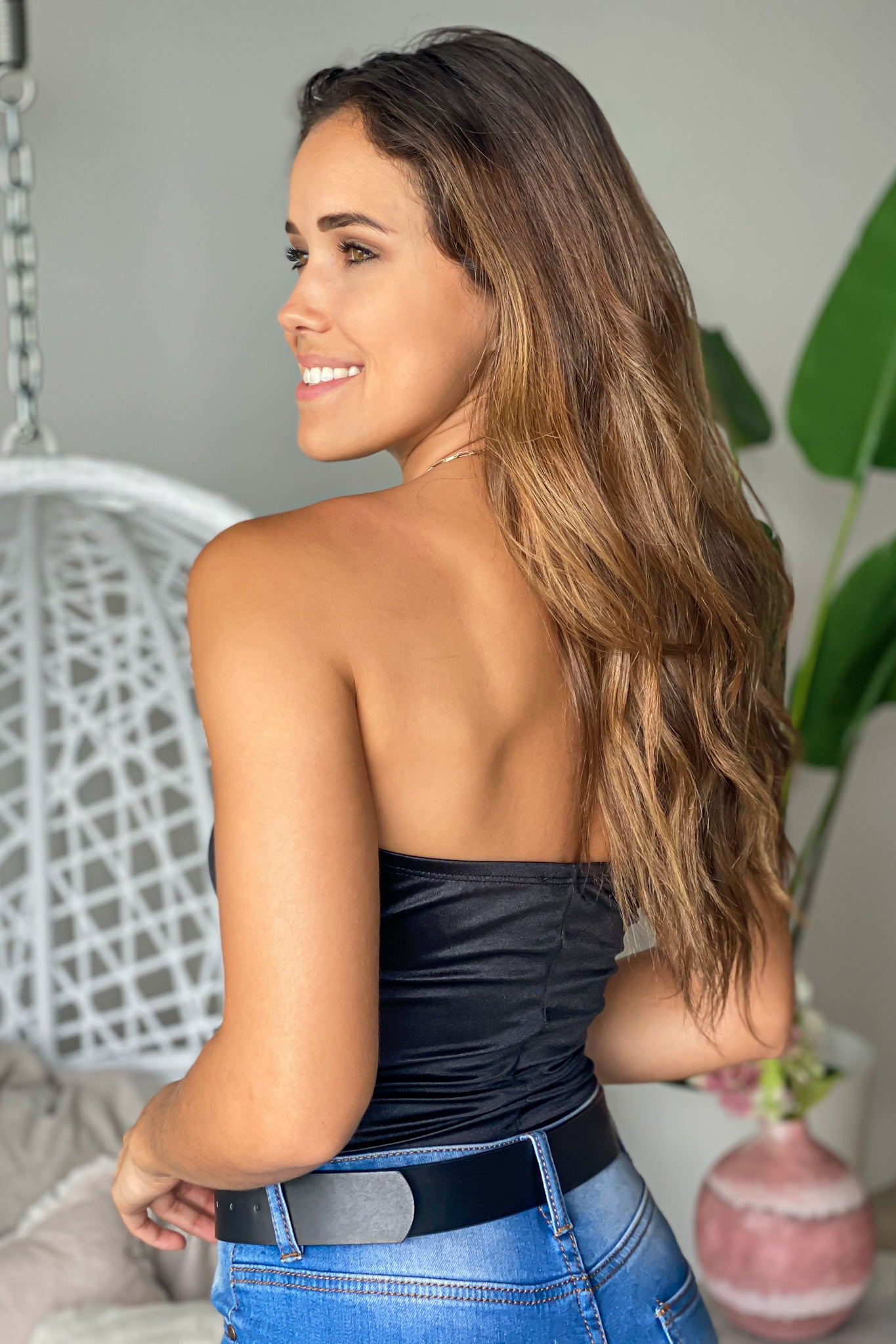 black strapless bodysuit