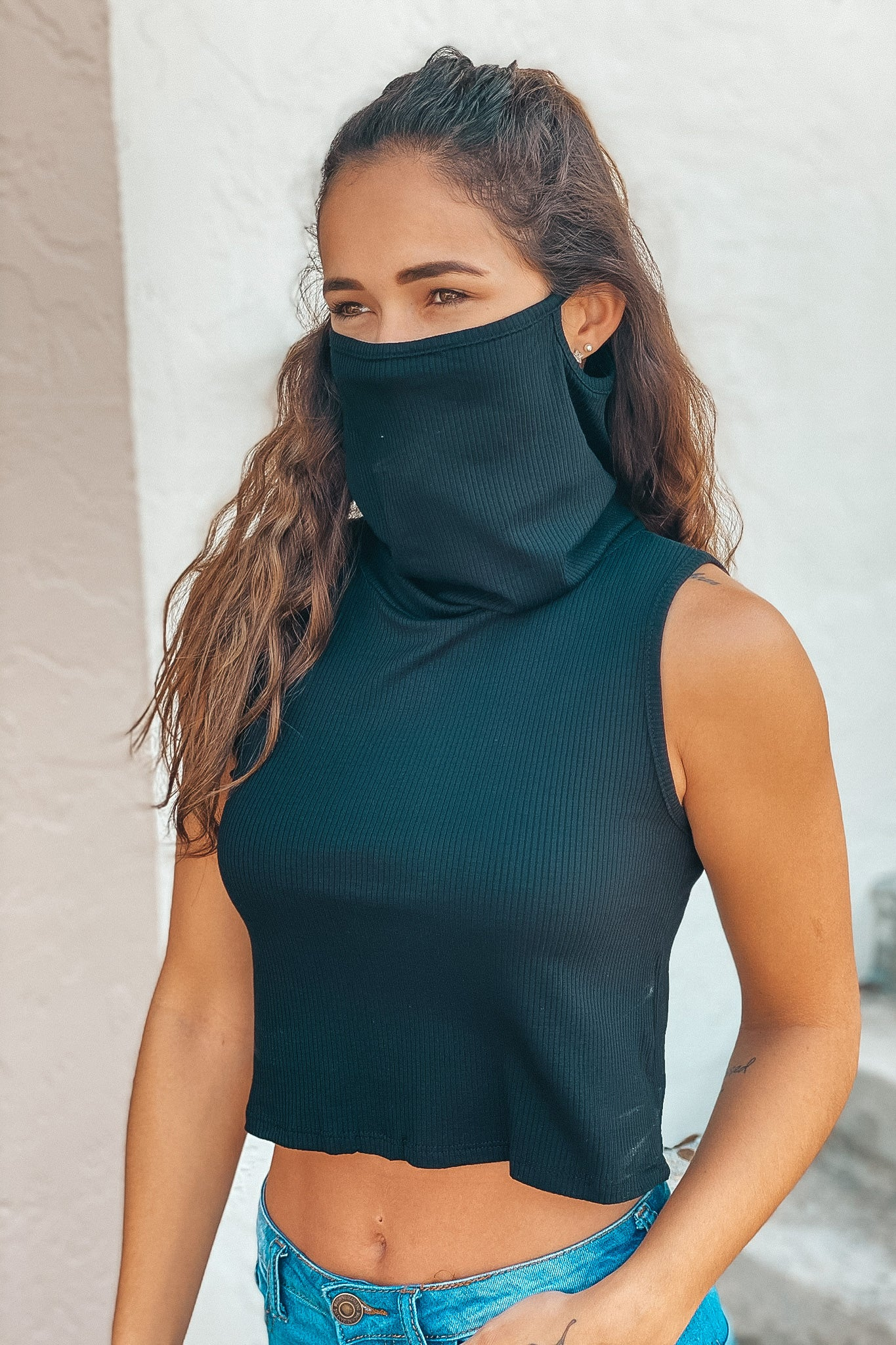 black top with mask