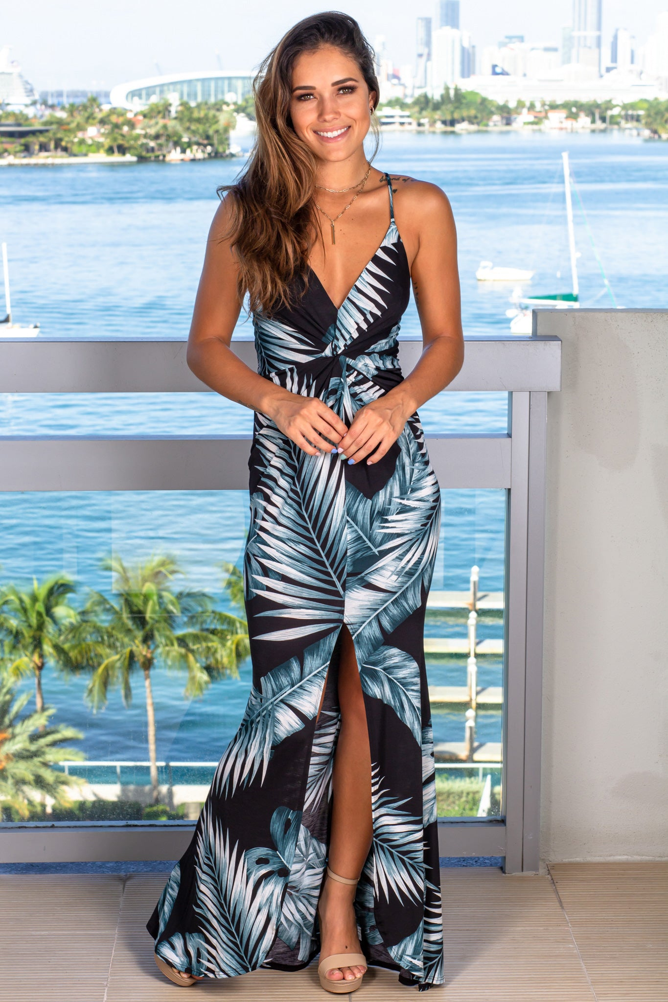 black tropical maxi dress with knot