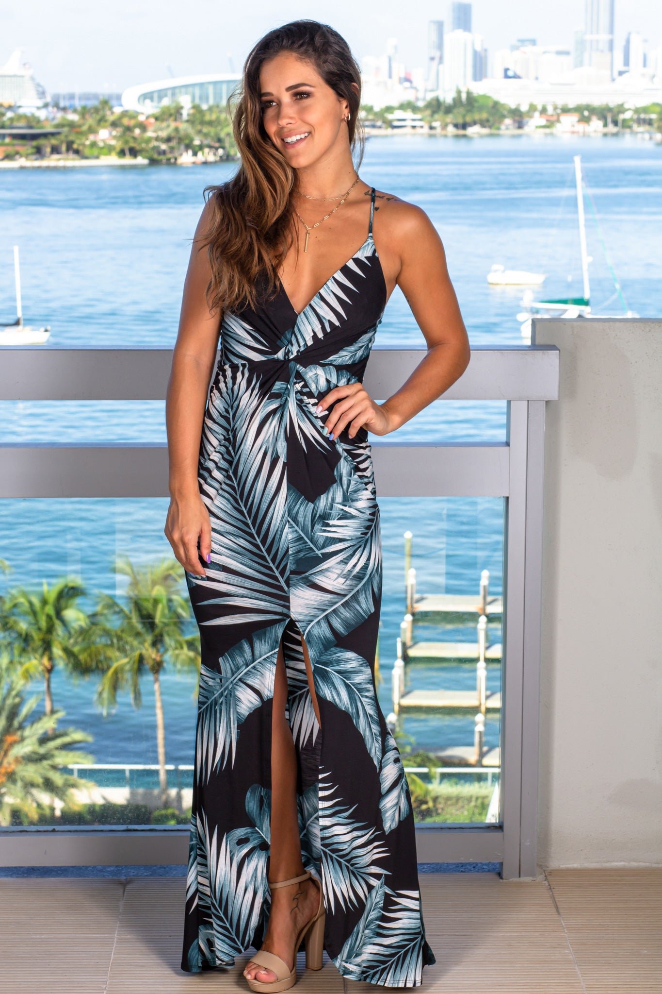 black tropical print maxi dress