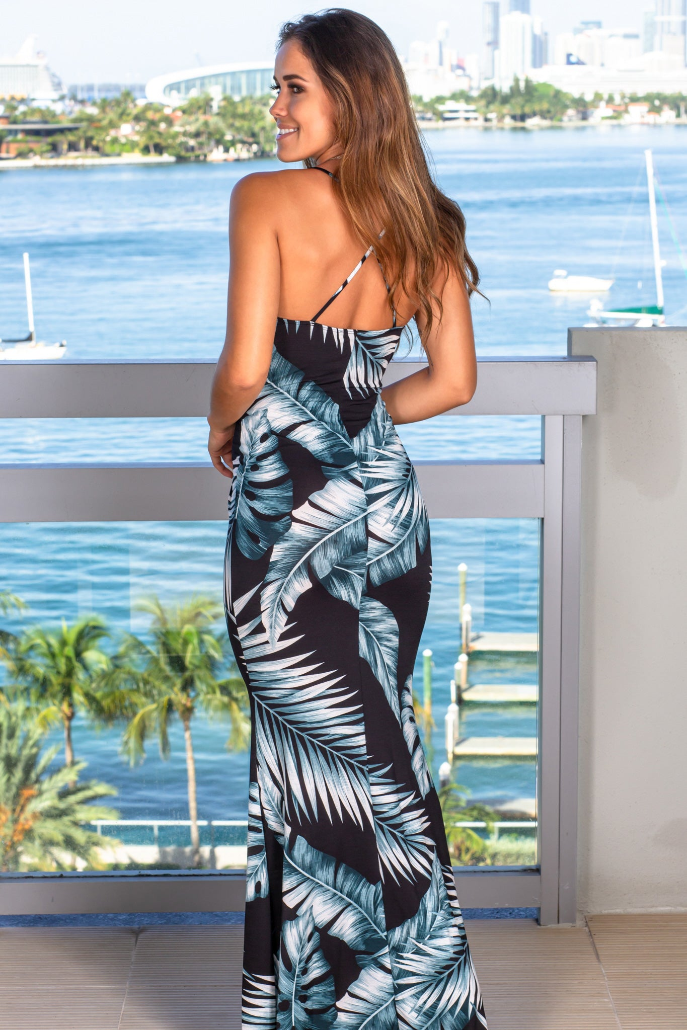 black tropical summer dress