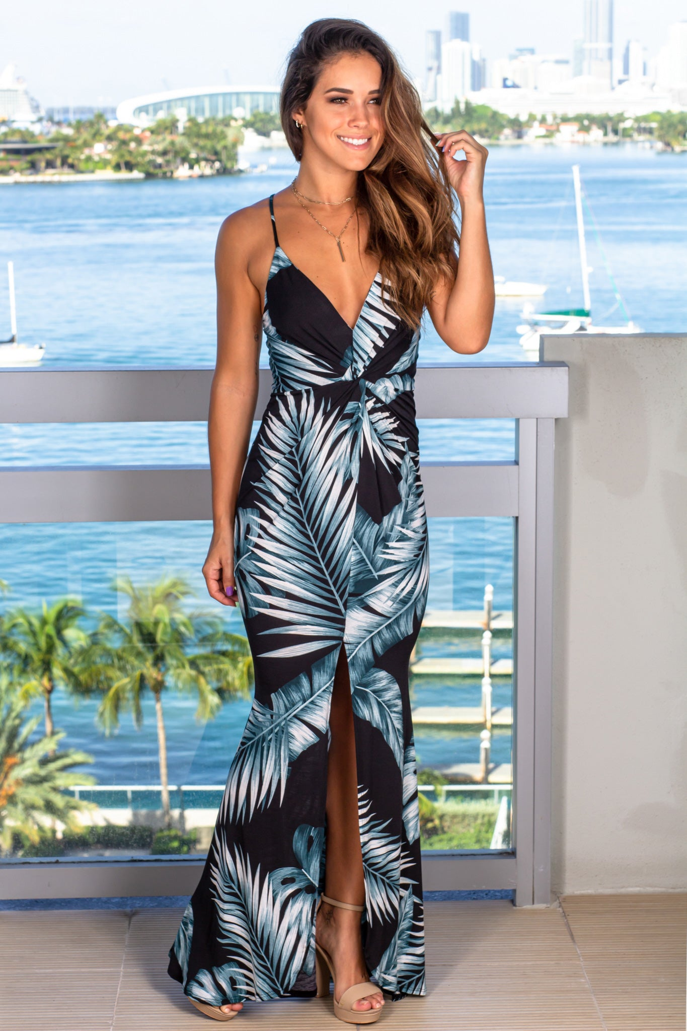 black tropical vacation dress