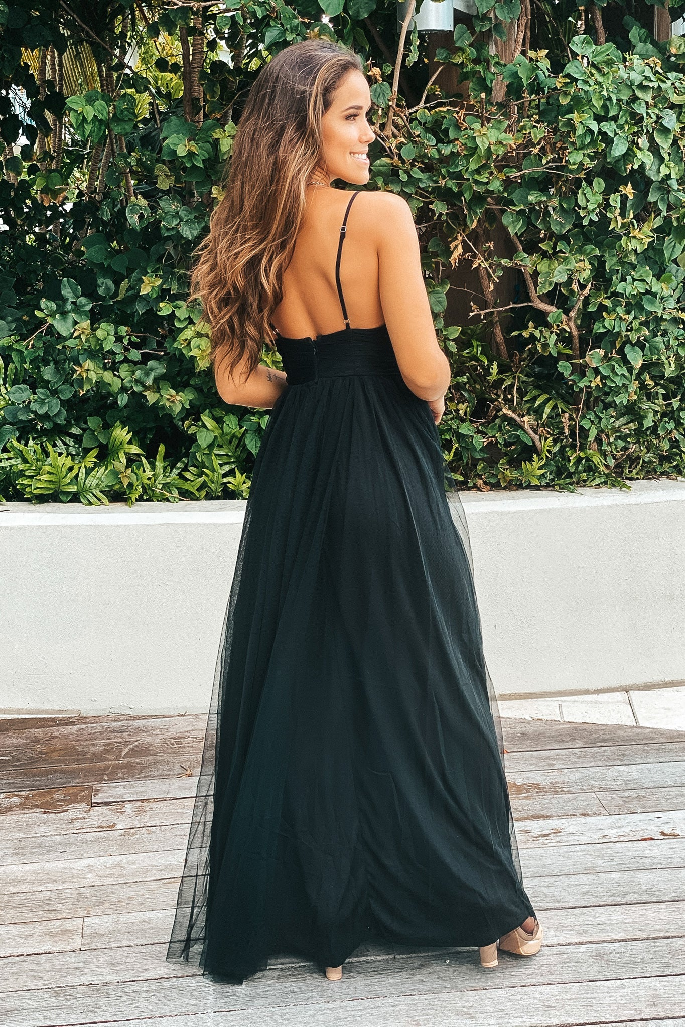 black tulle formal maxi dress