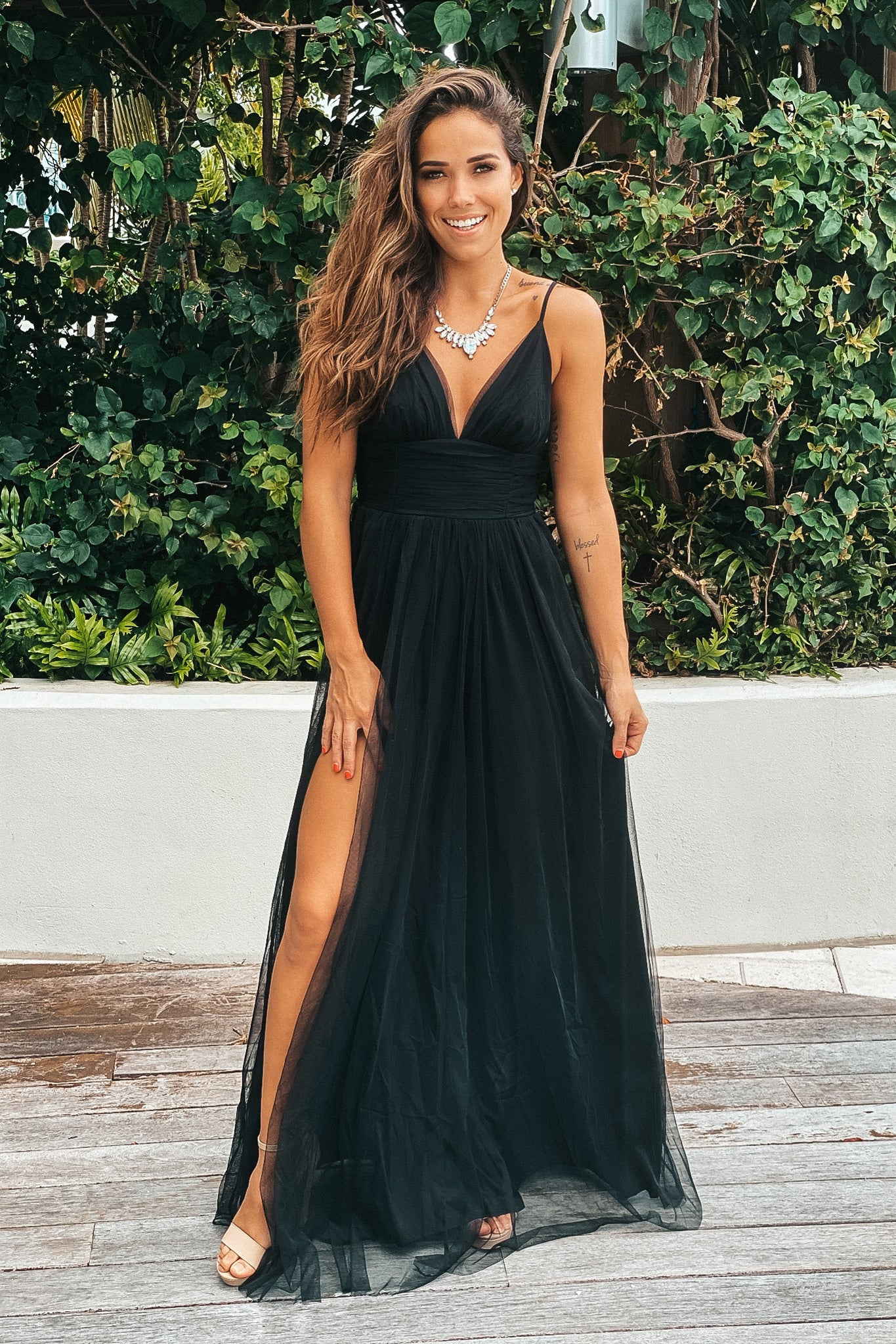 black tulle maxi dress with waistband