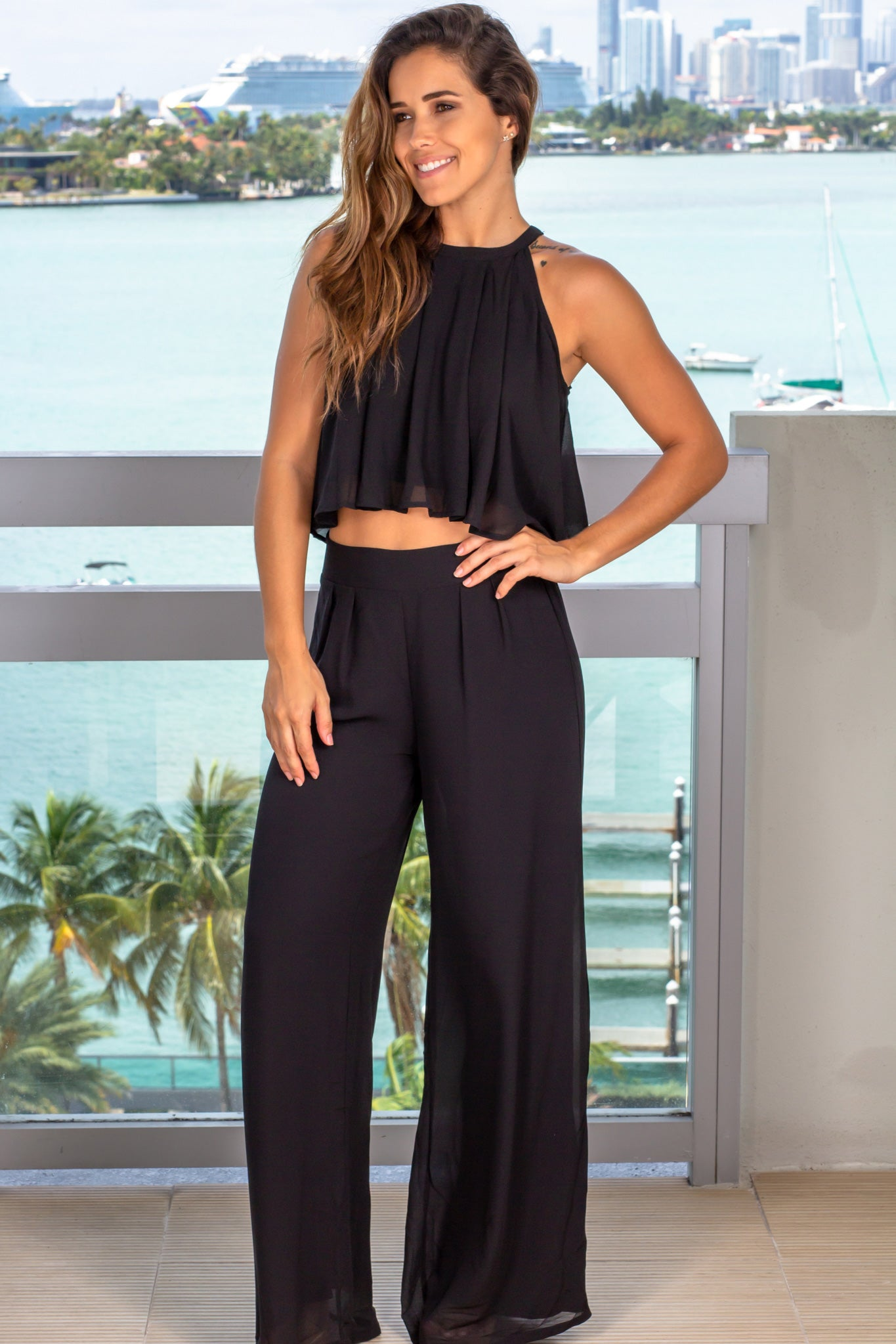 black two piece set