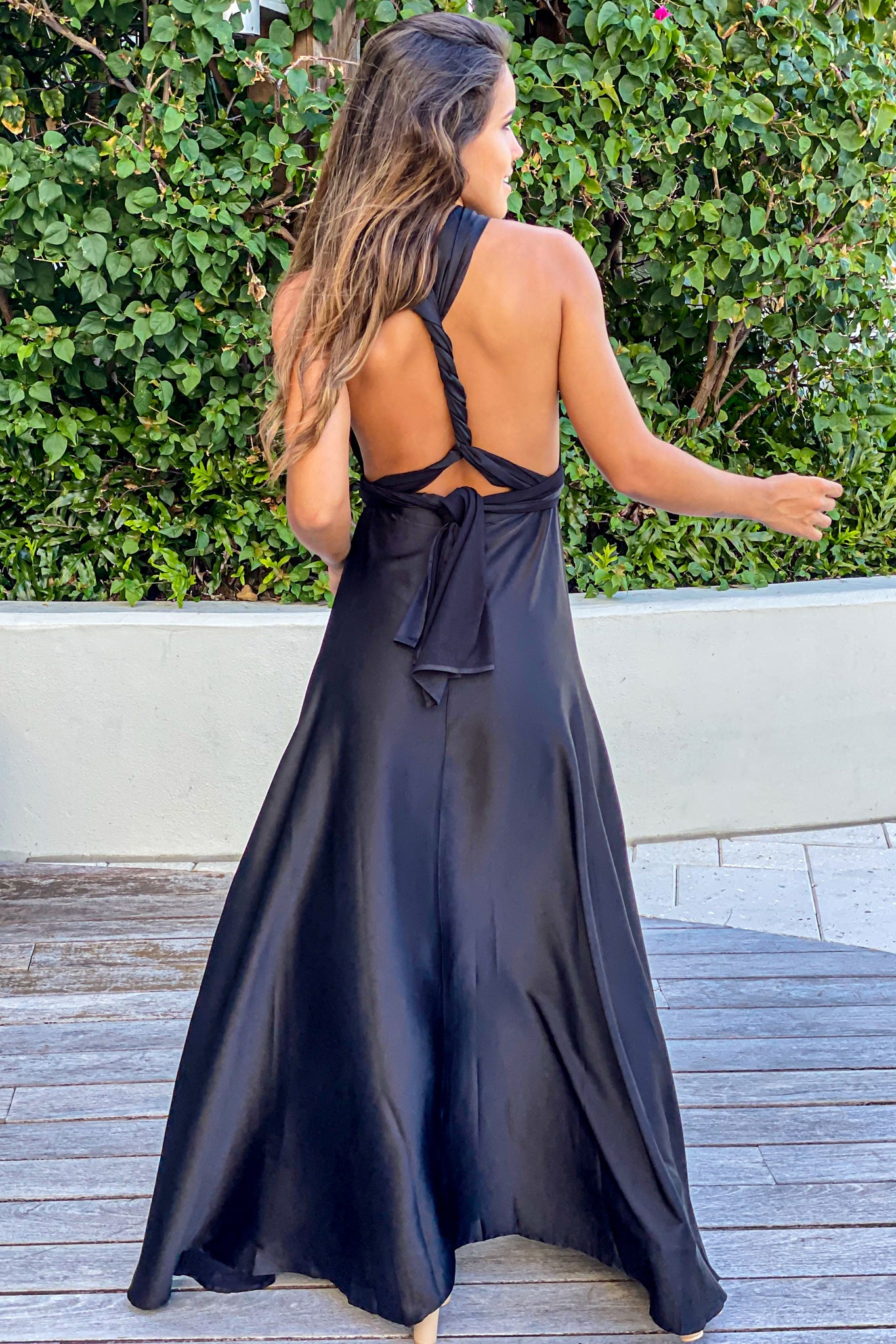 black wedding guest dress