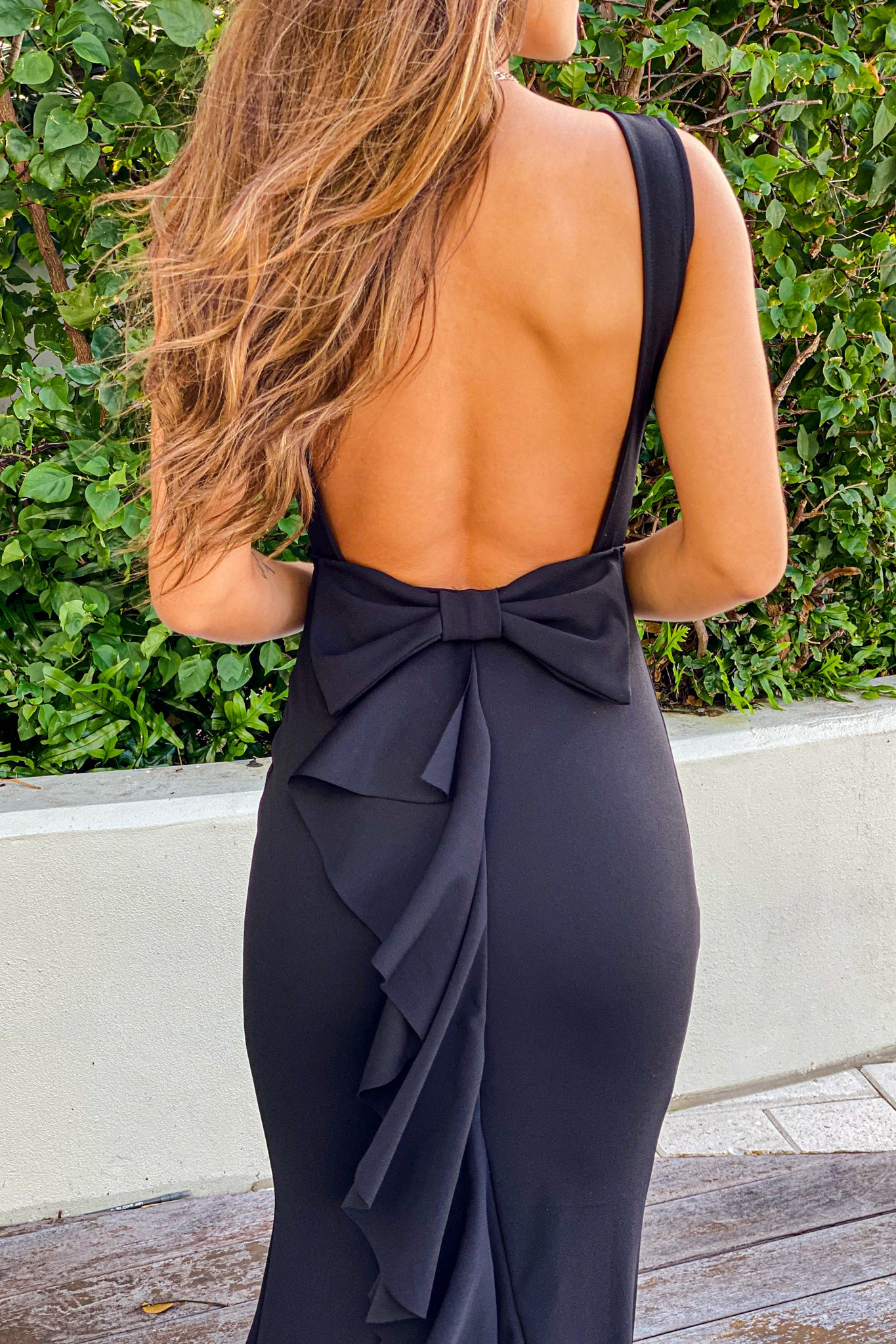 black wedding guest maxi dress