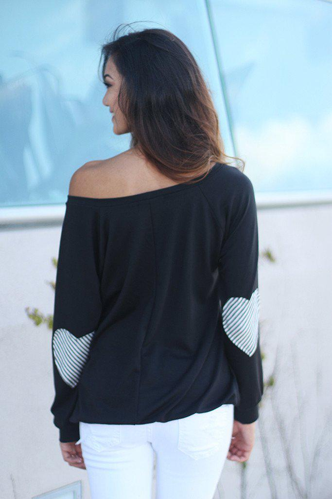 Black Sweater With Heart Elbow Patches