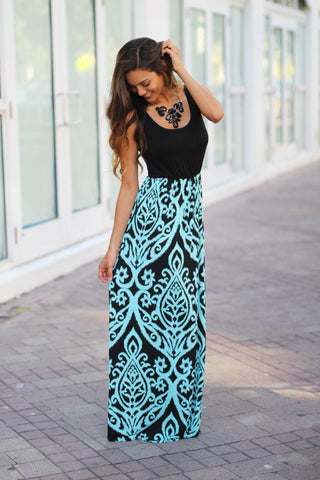 Black And Aqua Printed Maxi Dress
