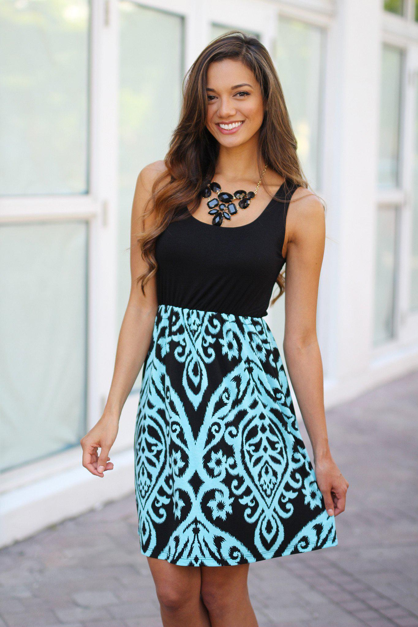 Black and Aqua Printed Short Dress