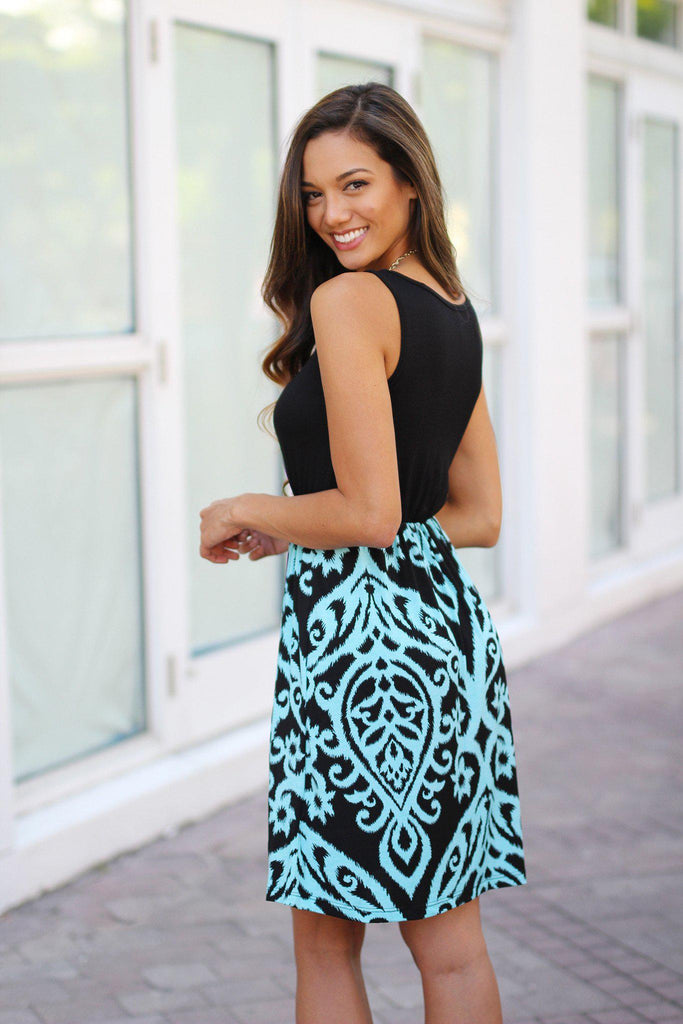 black and aqua short dress