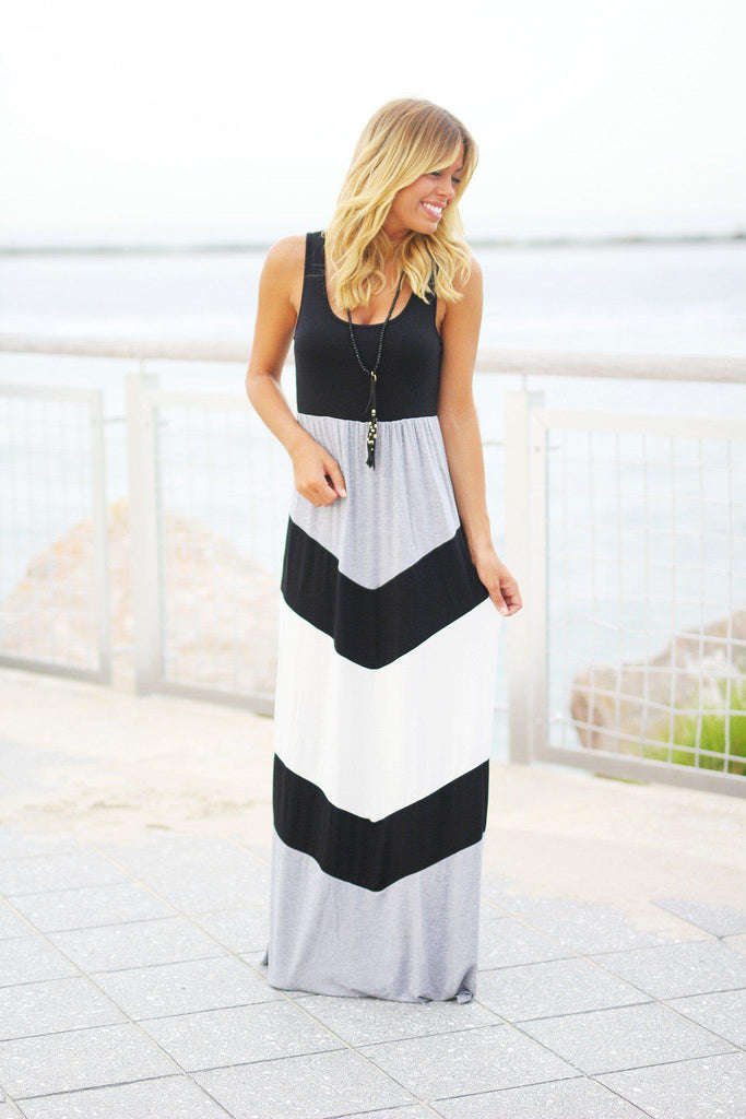 chevron long dress