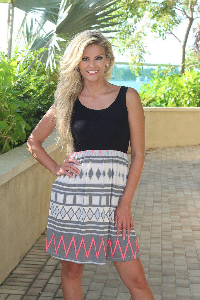Black And Gray Chevron Short Dress