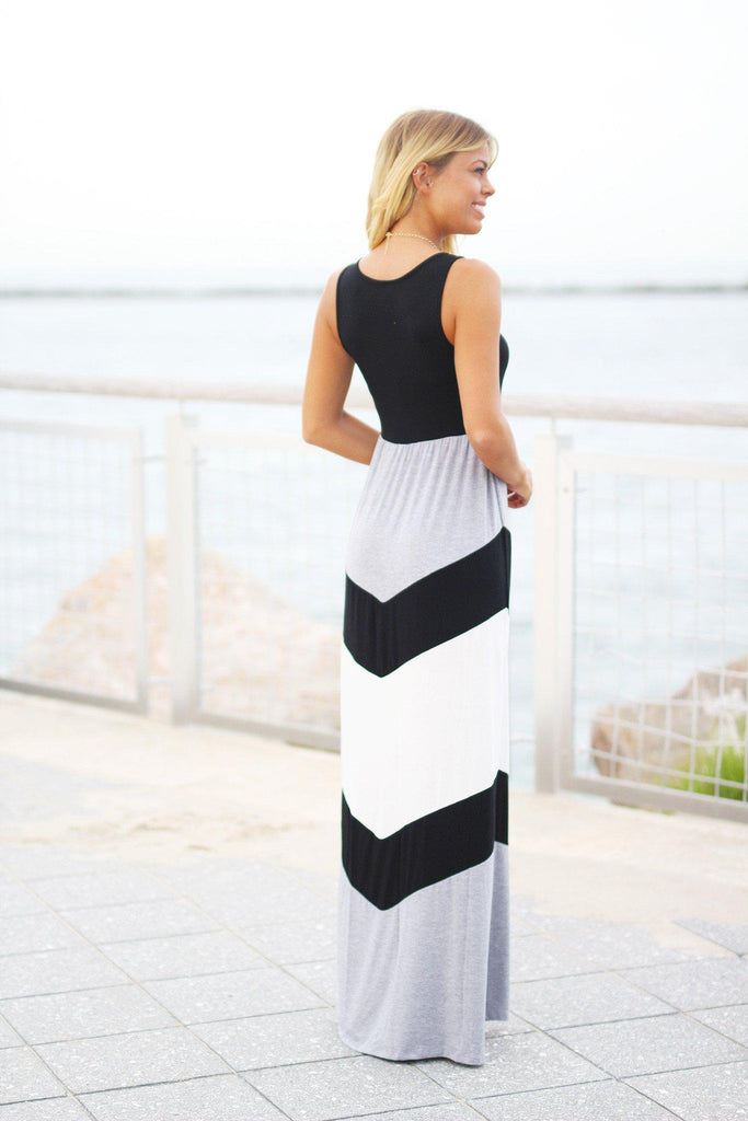 black and gray long dress
