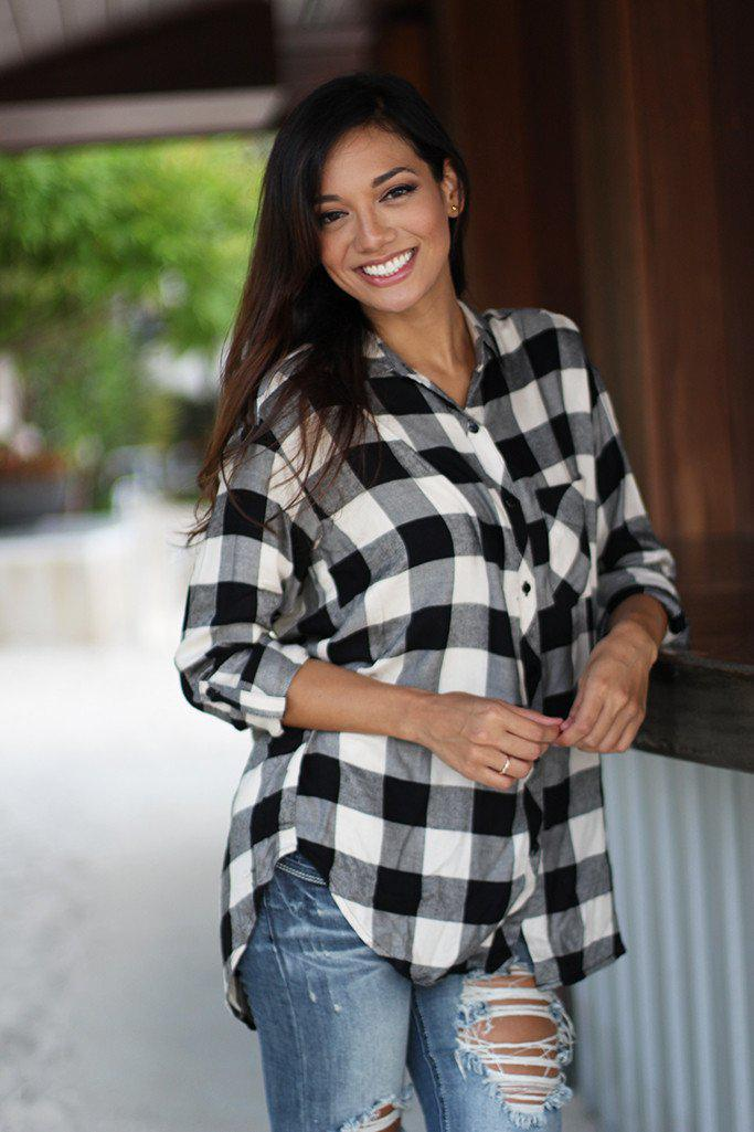 Black And Ivory Plaid Shirt