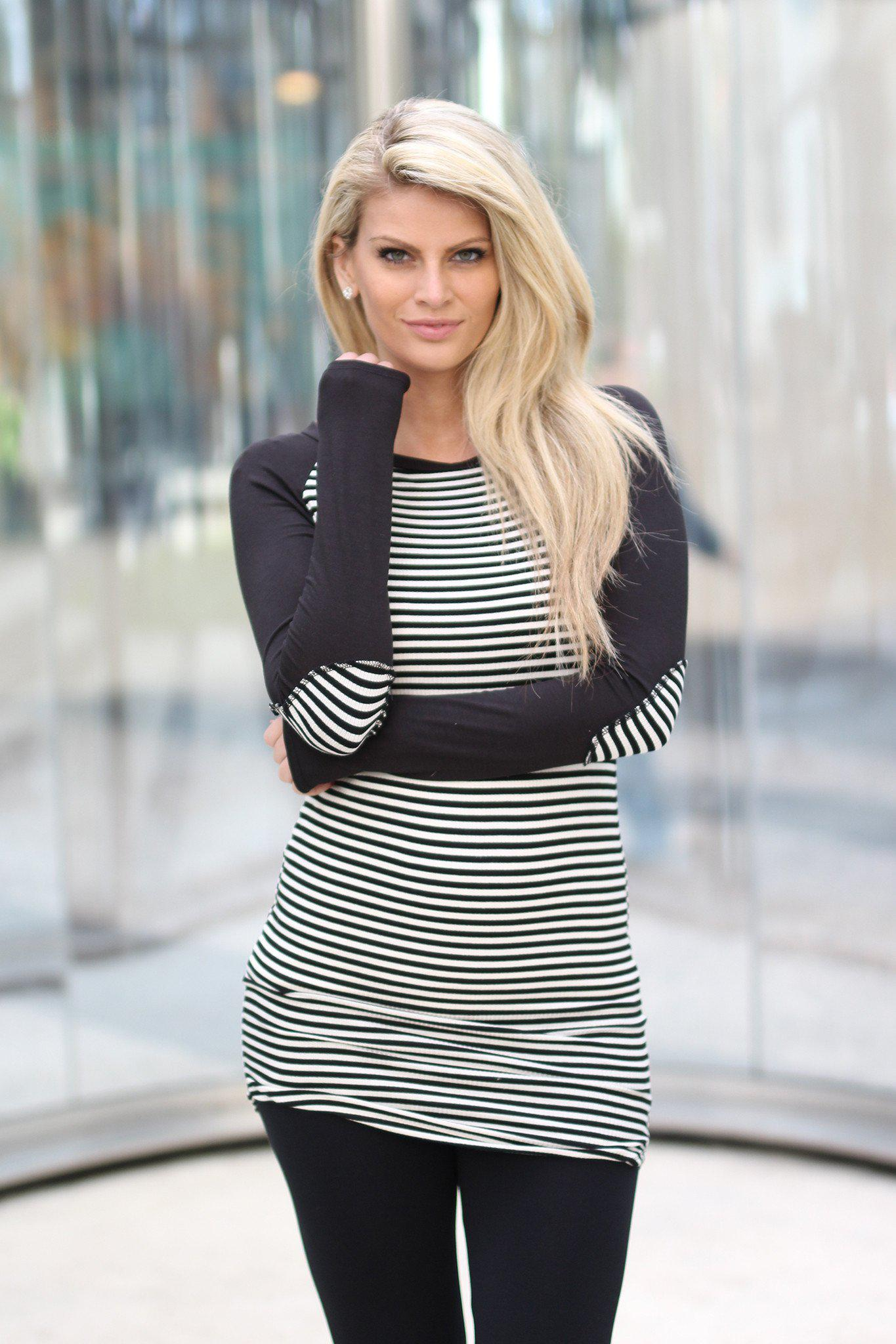 Black and Ivory Striped Top with Elbow Patches