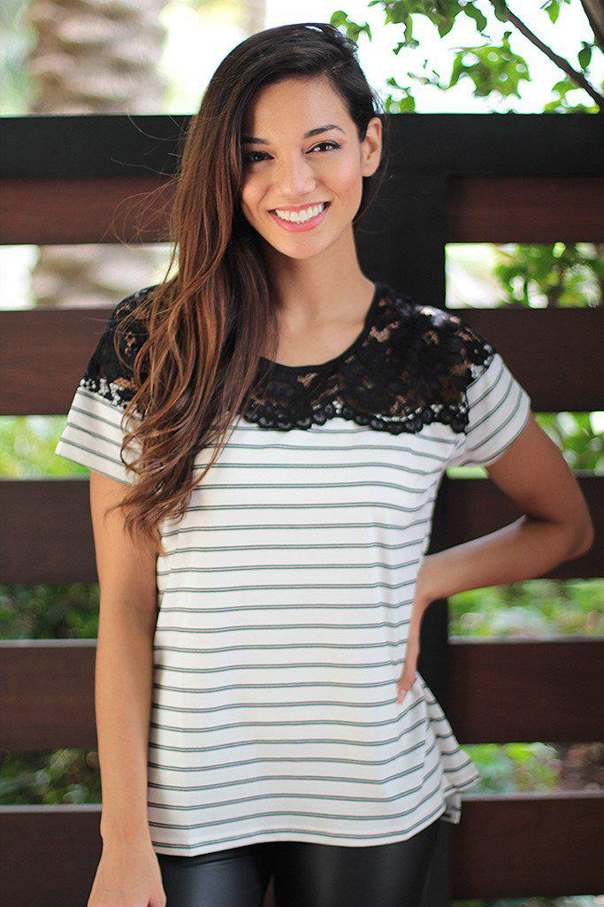Black And Ivory Top With Lace
