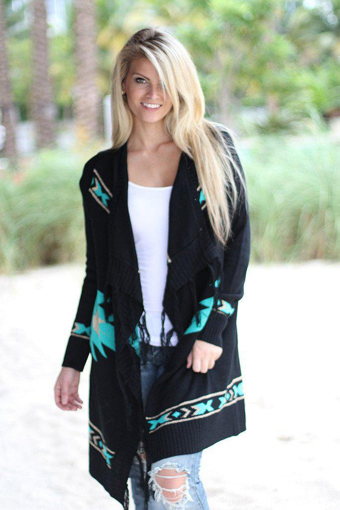 Black and Mint Knit Cardigan