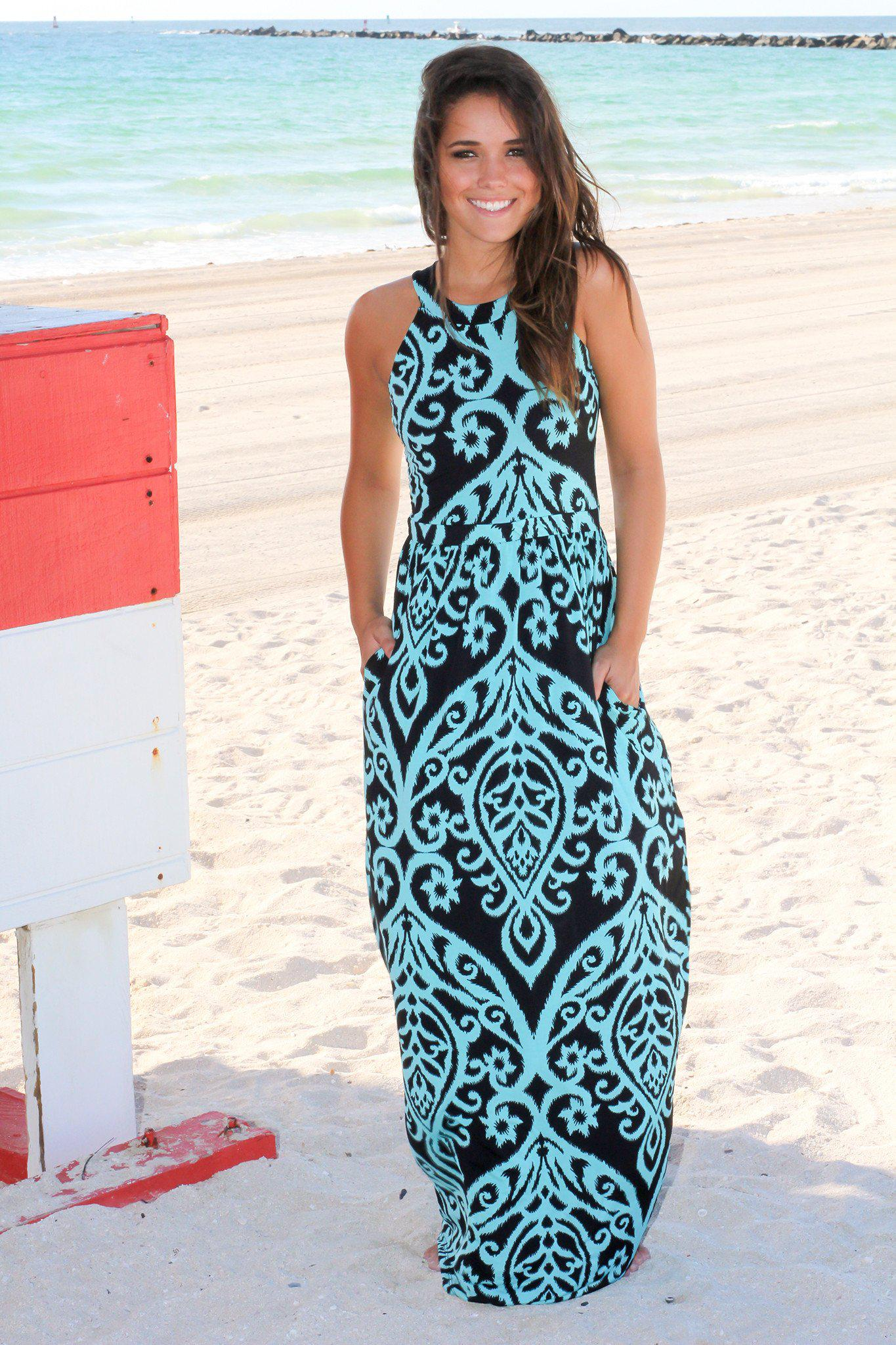 black and aqua maxi dress