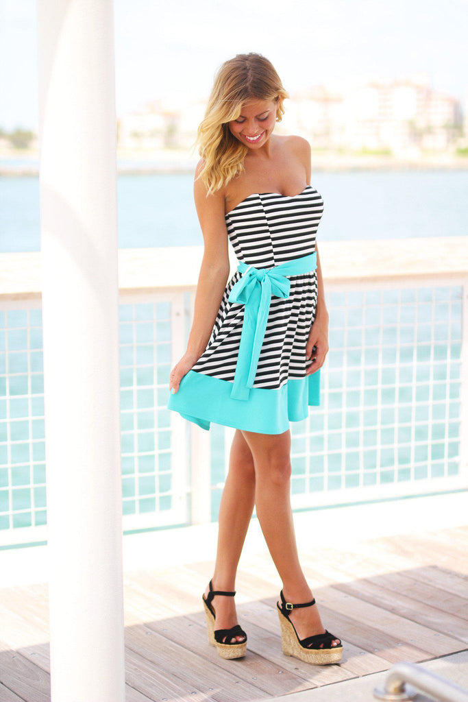 black and mint short dress