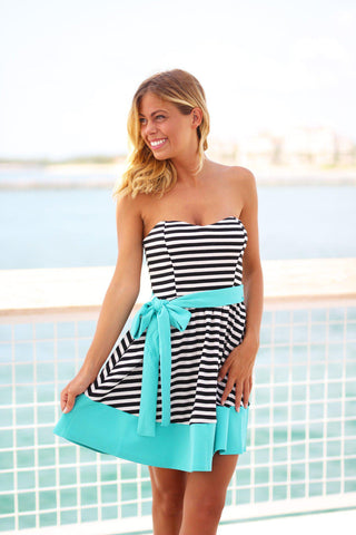 Black and Mint Striped Dress