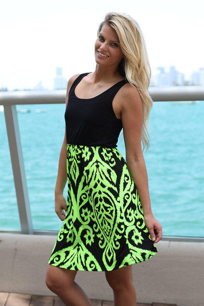 Black and Neon Lime Short Dress