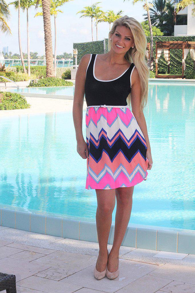Black and Neon Pink Chevron Dress with Belt