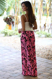 Black and Neon Pink Printed Maxi Skirt