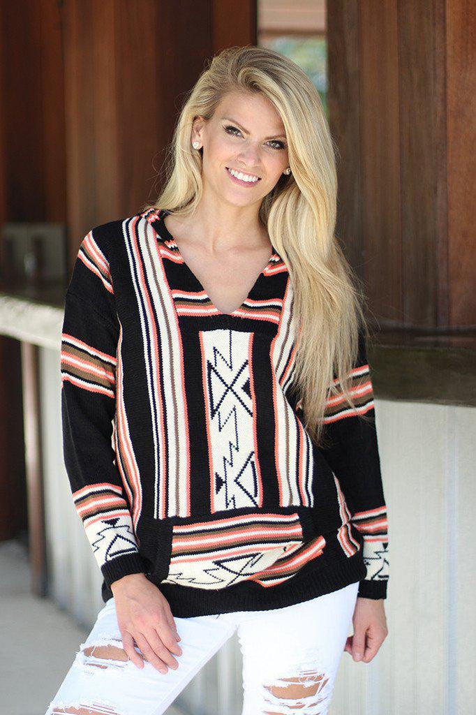 Black And Peach Hooded Sweater