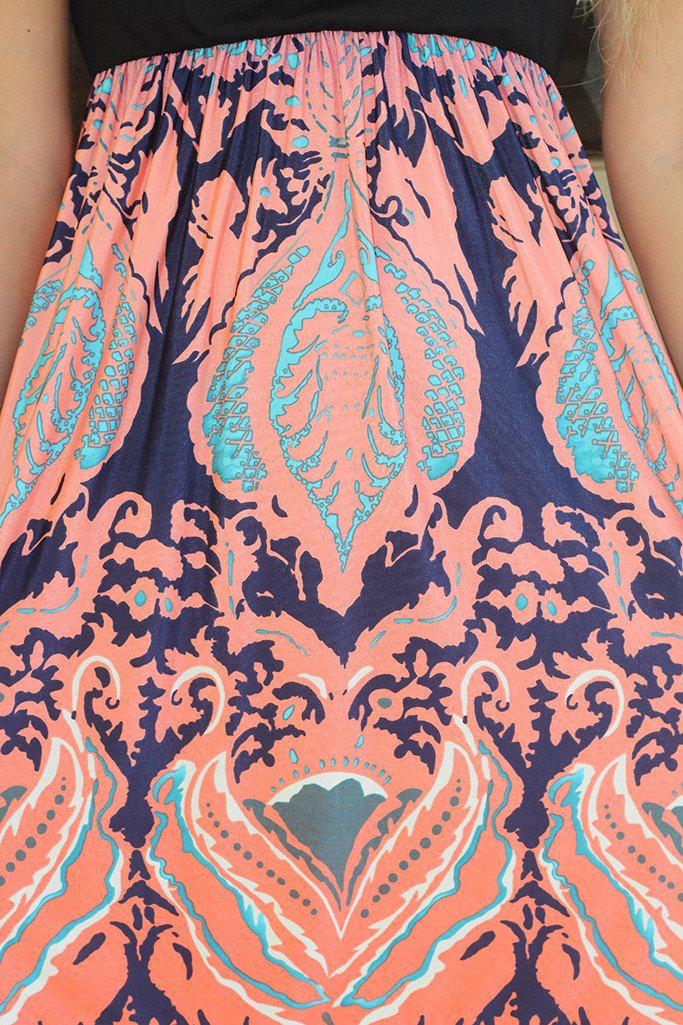 Black And Peach Printed Dress With Short Sleeves