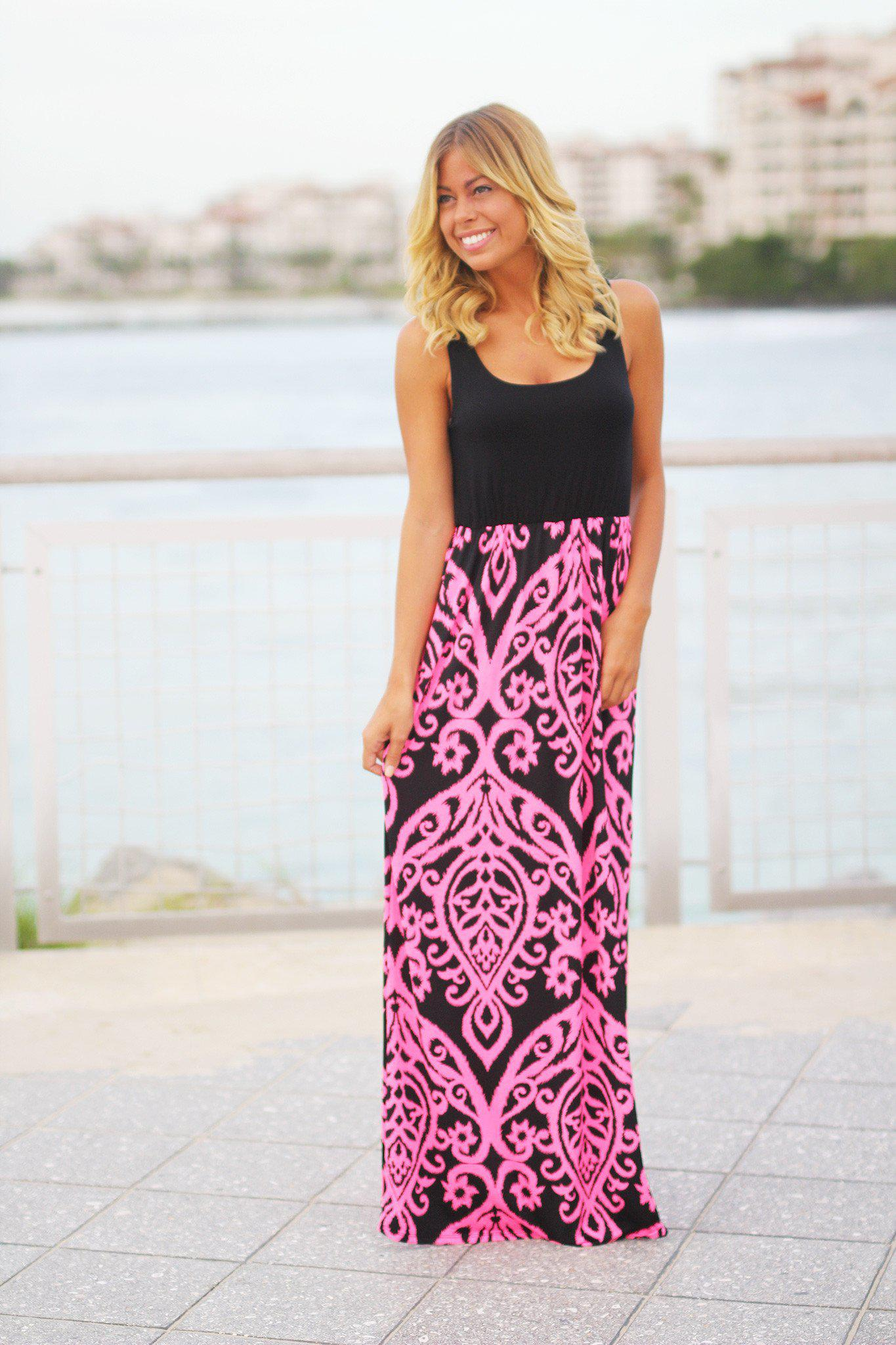 Black and Neon Pink Printed Maxi Dress