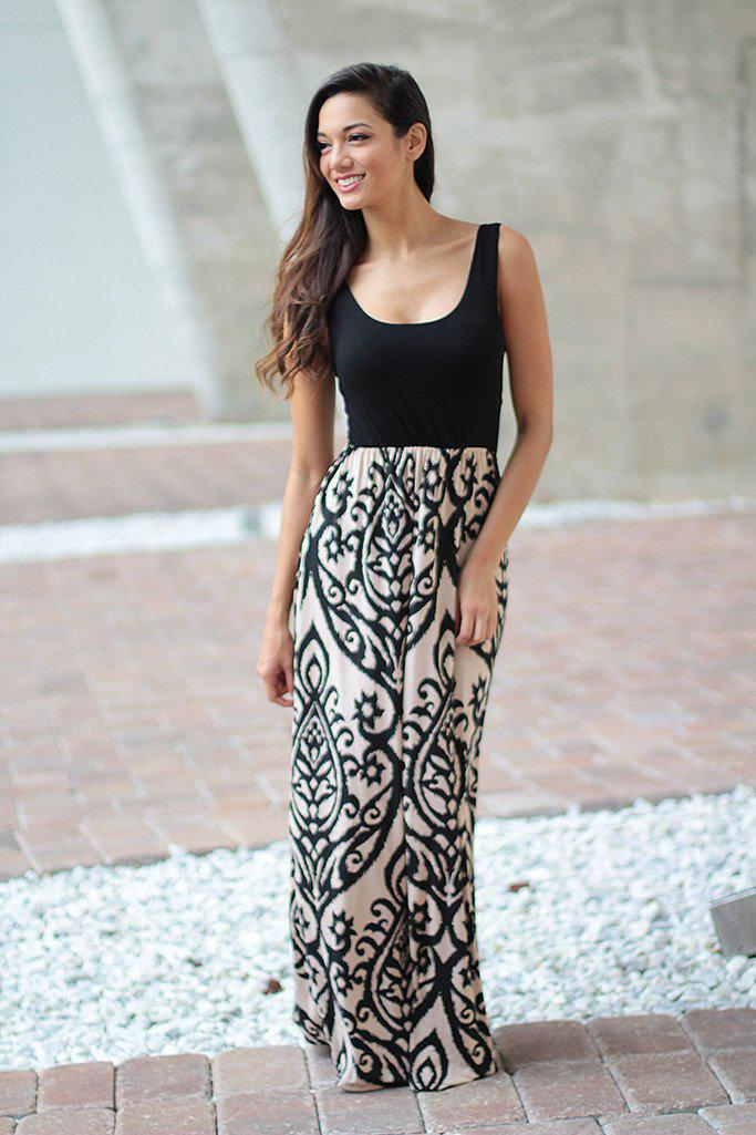 Black and Taupe Maxi Dress With Criss Cross Back