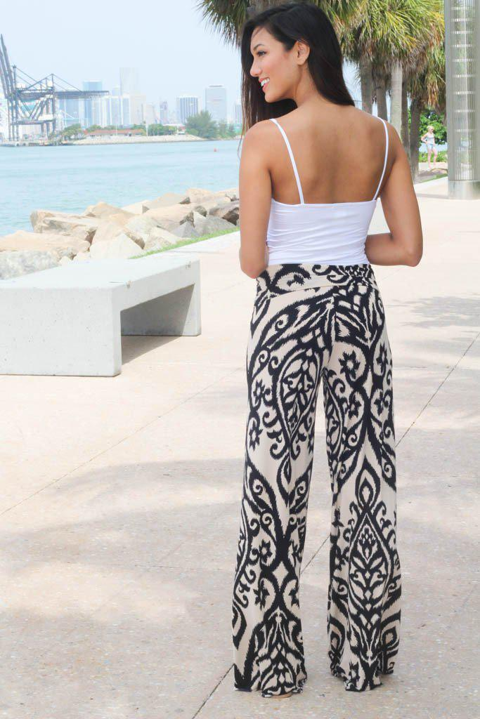 Taupe And Black Printed Pants - A25