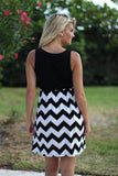 Black and White Chevron Short Dress