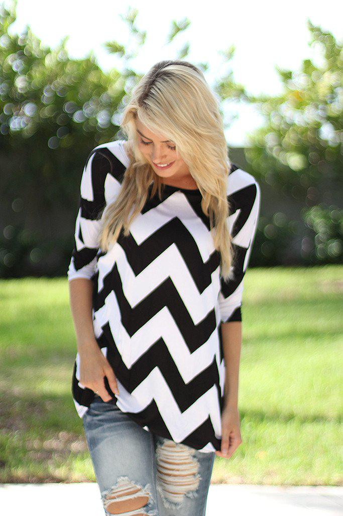 Black and White Chevron Top
